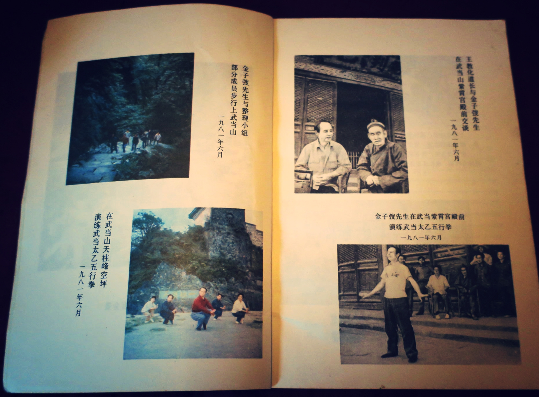 Master Jin Zi Tao 金子弢 returning Taiyiwuxingquan 太乙五行拳 to Purple Cloud Palace in 1981 from his book  Wudang Taiyi Wuxing Quan
