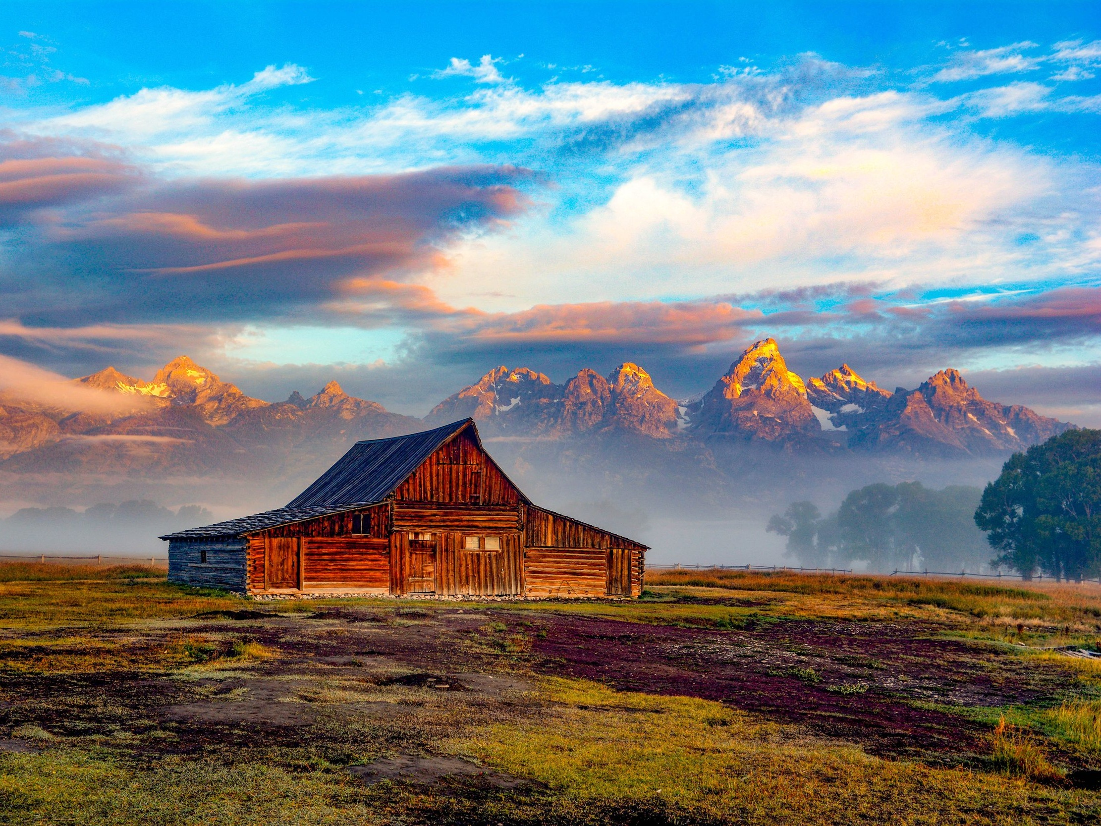 Barn in field - Private Sunrise or sunset wildlife tours in Grand Teton National Park - Wyoming Guide Co