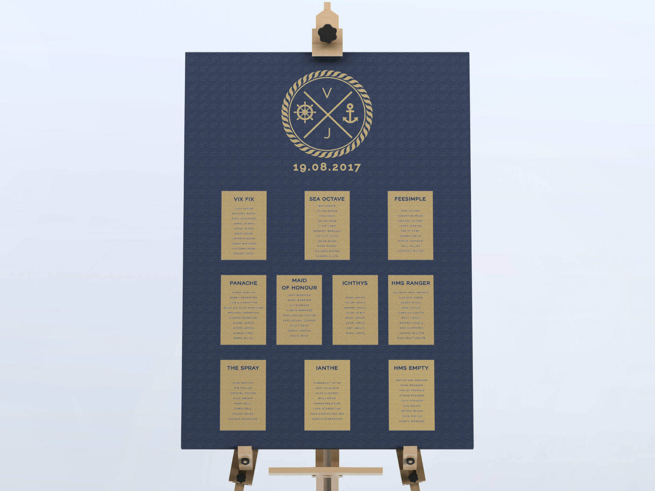 Canary Wharf - Nautical Wedding Table Plan
