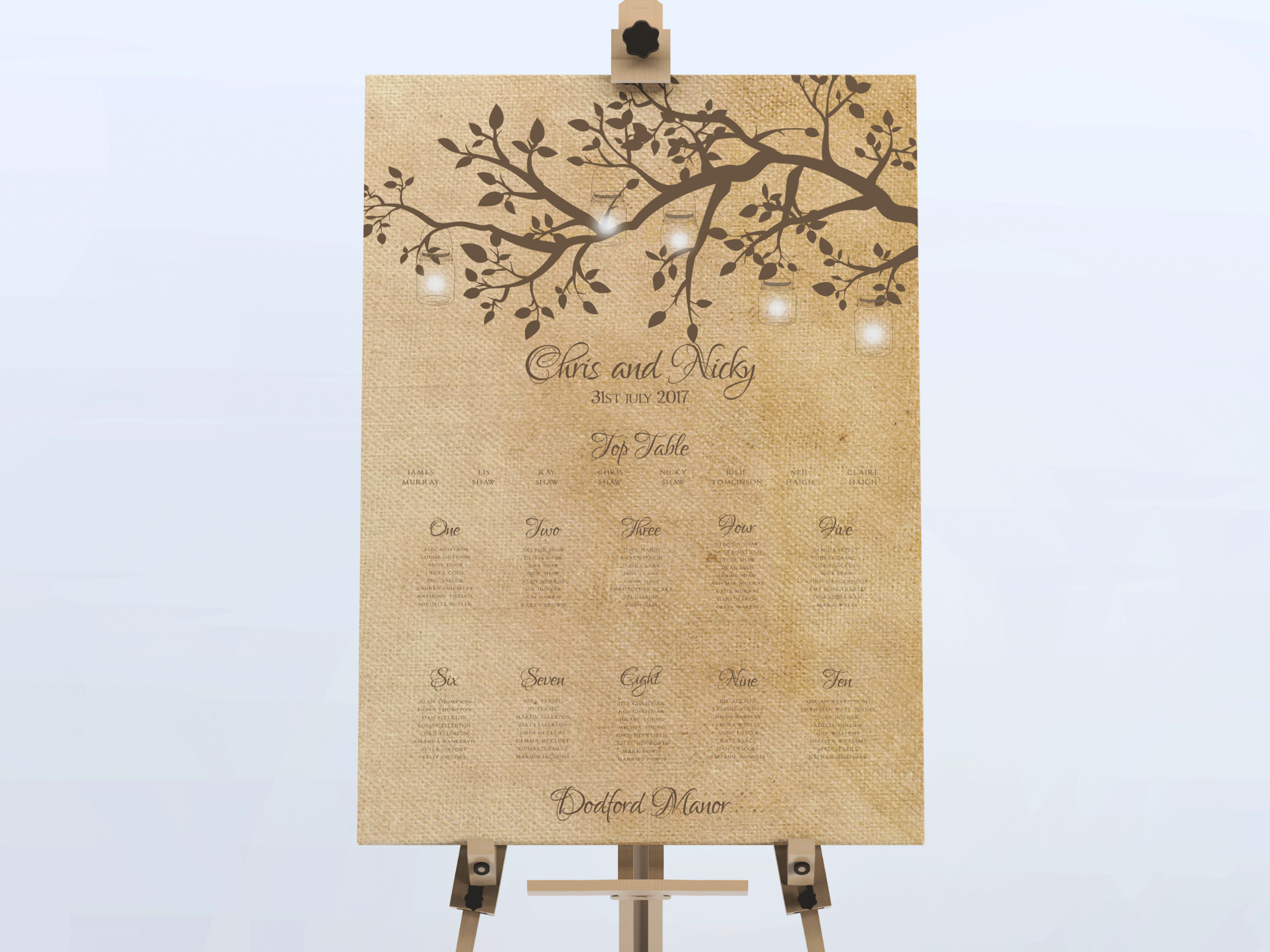 Poplar - Rustic Wedding Table Plan