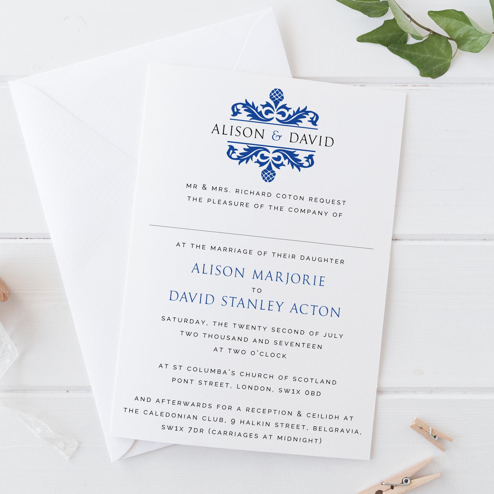 Green Park - Damask Wedding Invitation
