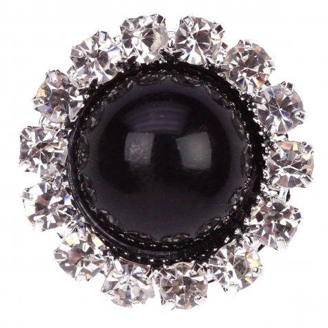 Diamante Circle Pearl Black