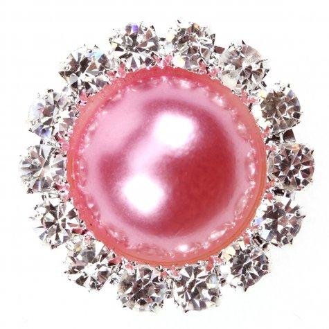 Diamante Circle Pearl Rose