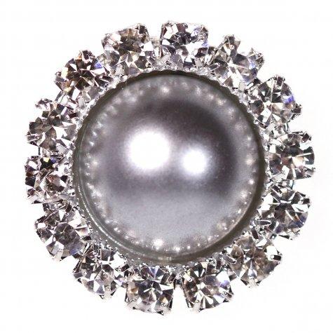 Diamante Circle Pearl Silver