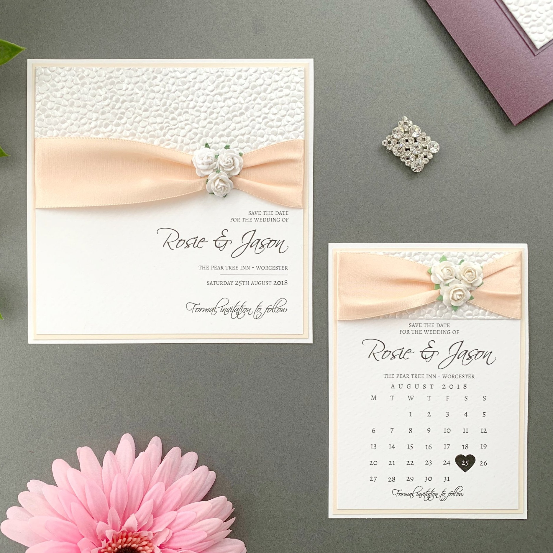 Phoebe Save The Date Card and calendar