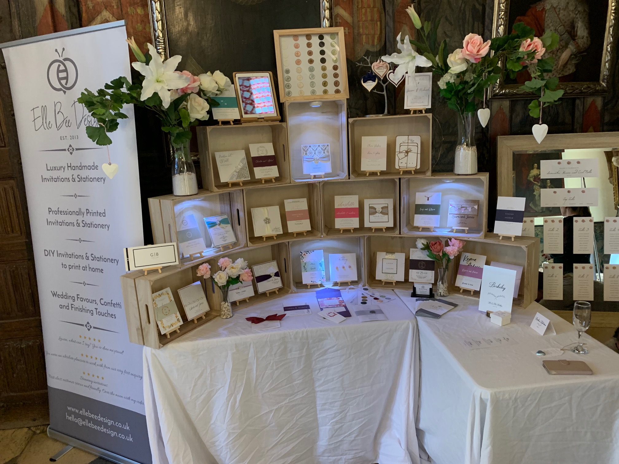 Our stand set up at the lovely Berkeley Castle