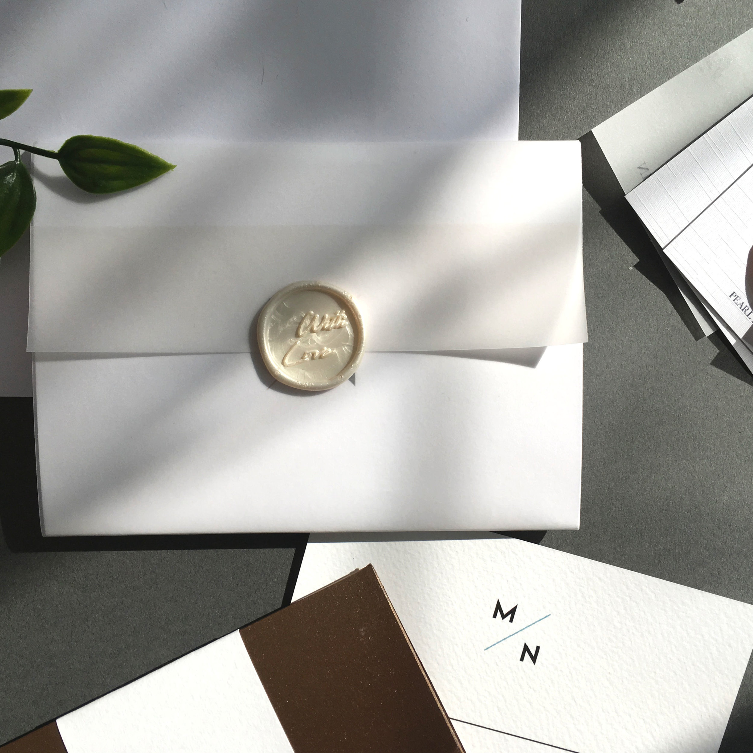Camden - Concertina Invitation with Vellum Jacket and Wax Seal