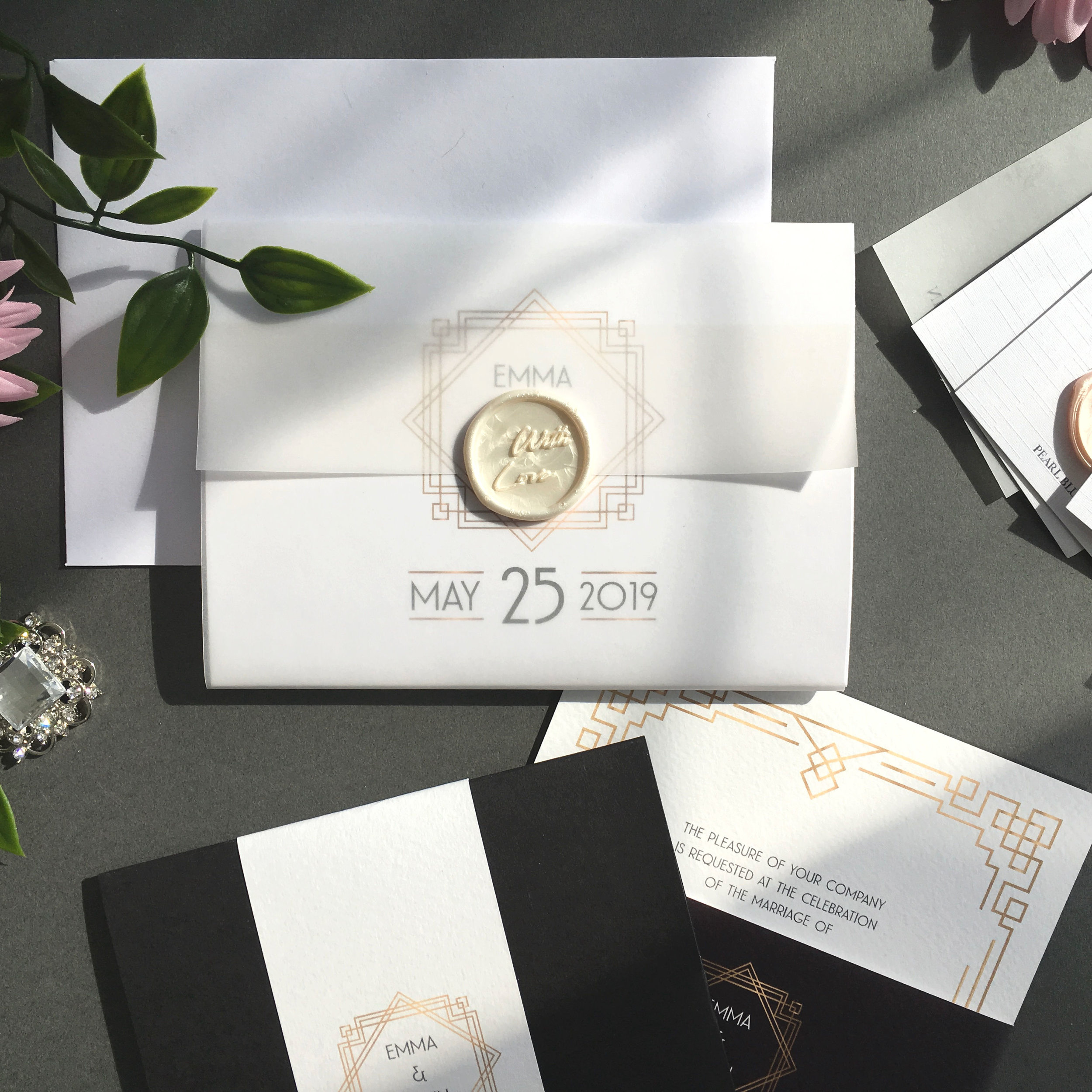 Earl's Court - Concertina Invitation with Vellum Jacket and Wax Seal