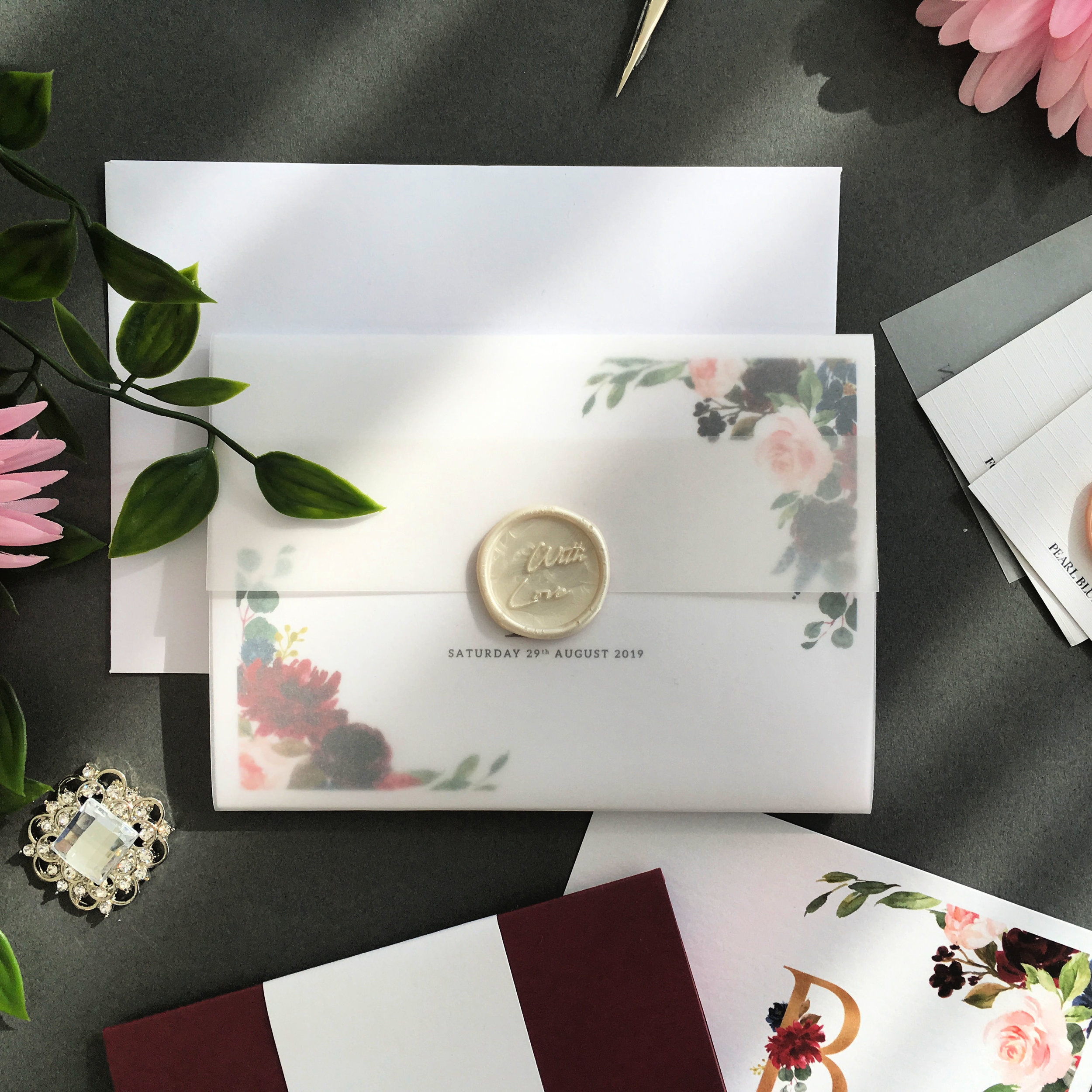 Elm Park - Concertina Invitation with Vellum Jacket and Wax Seal