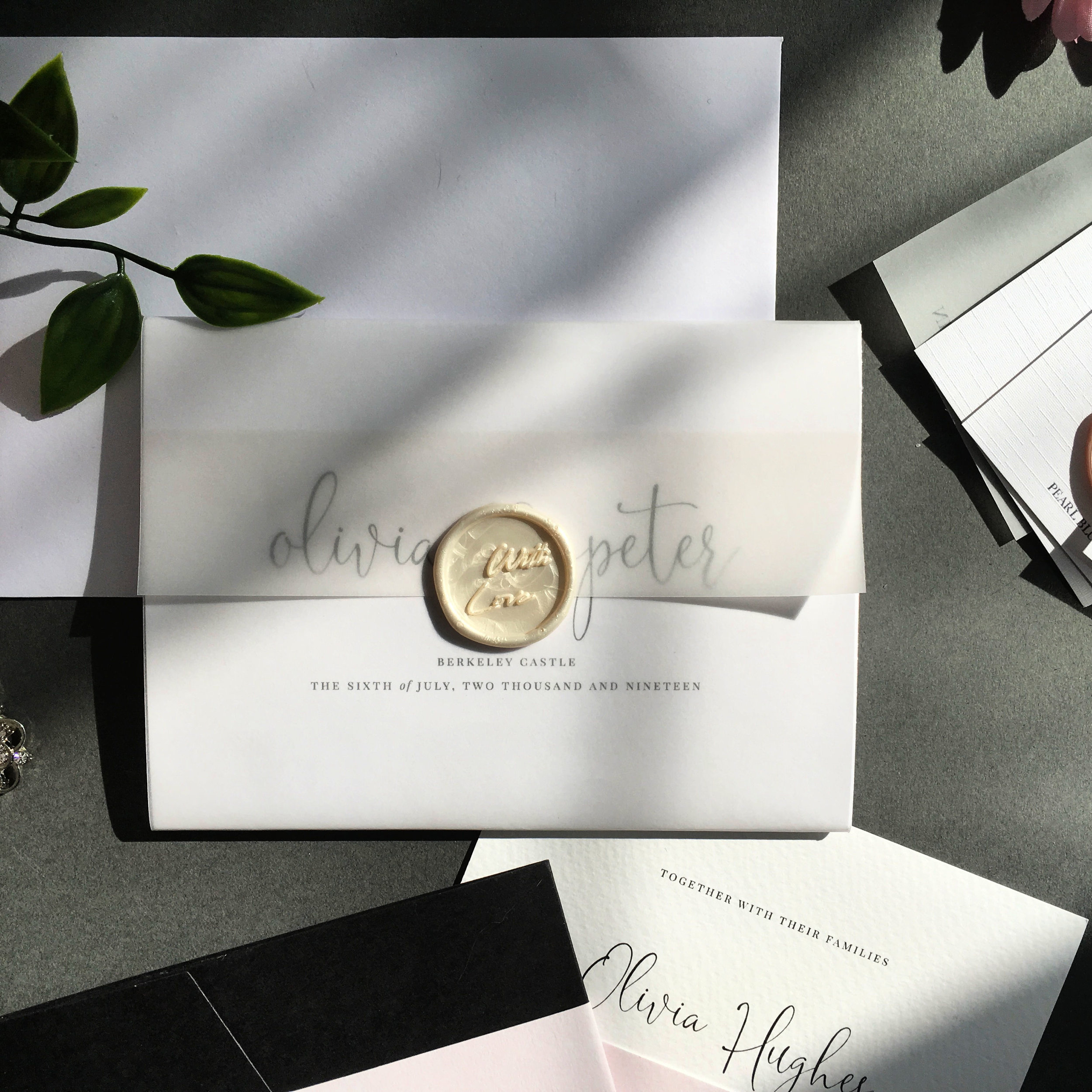 Finchley - Concertina Invitation with Vellum Jacket and Wax Seal