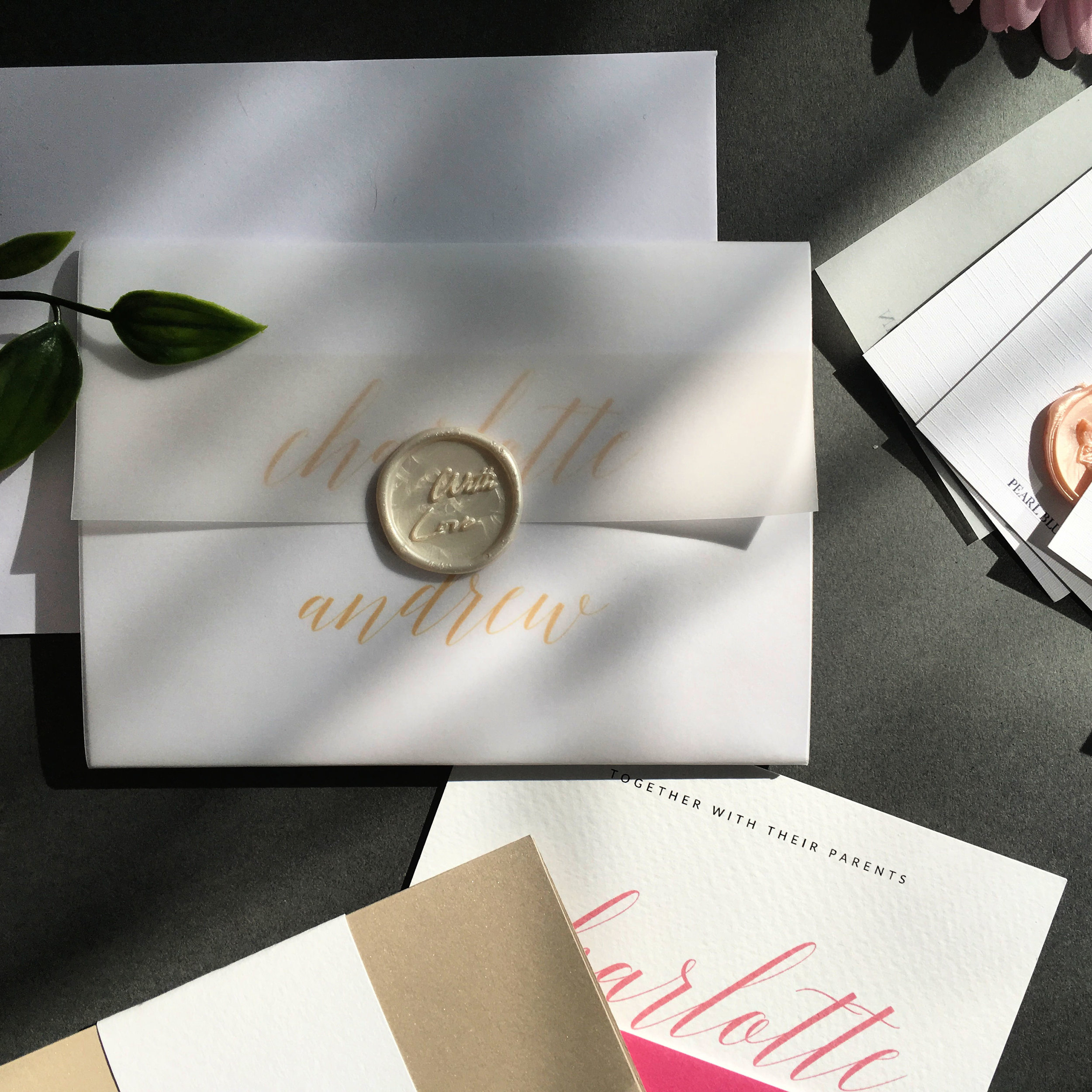 Hoxton - Concertina Invitation with Vellum Jacket and Wax Seal