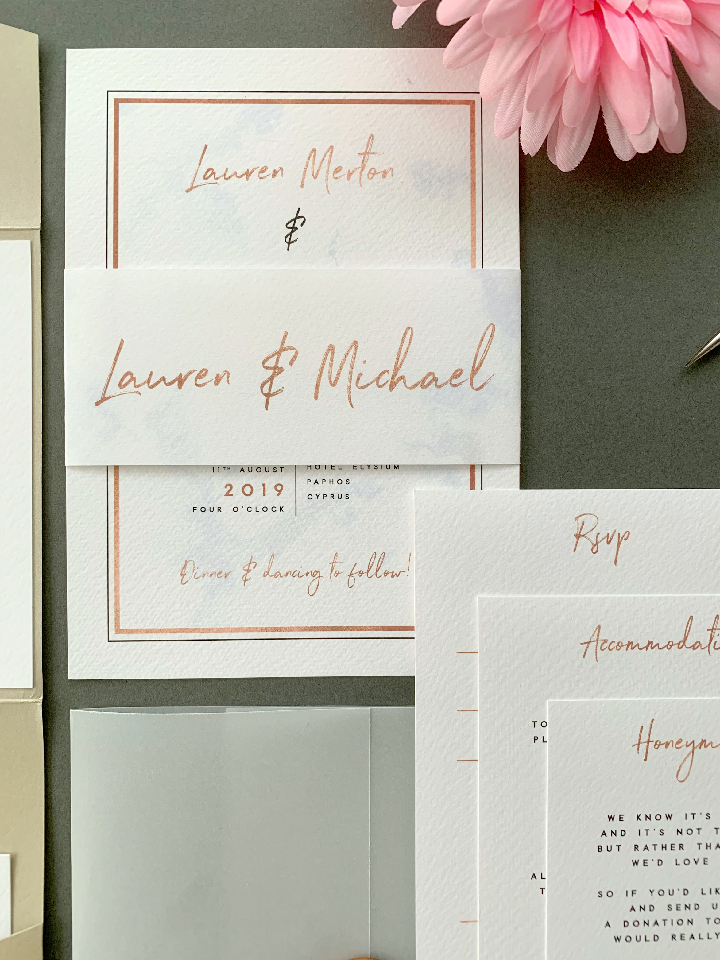 Chiswick Classic Invitation Suite shown with paper belly band