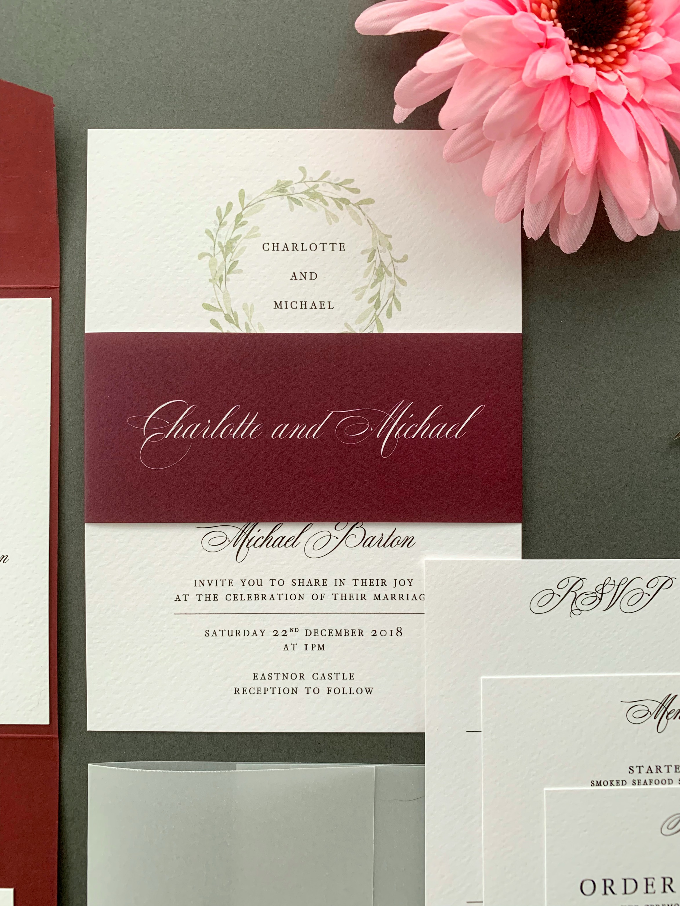 Oxford Classic Invitation Suite shown with paper belly band