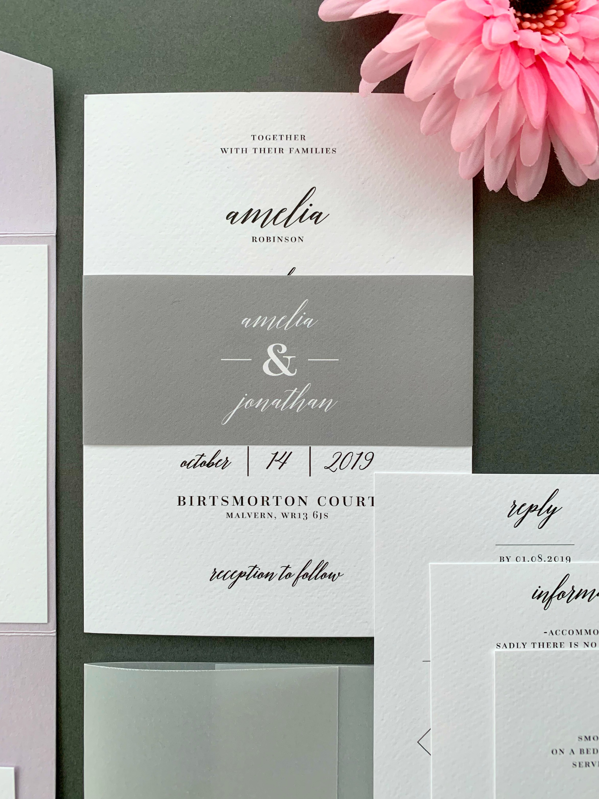 Westminster Classic Invitation Suite shown with paper belly band