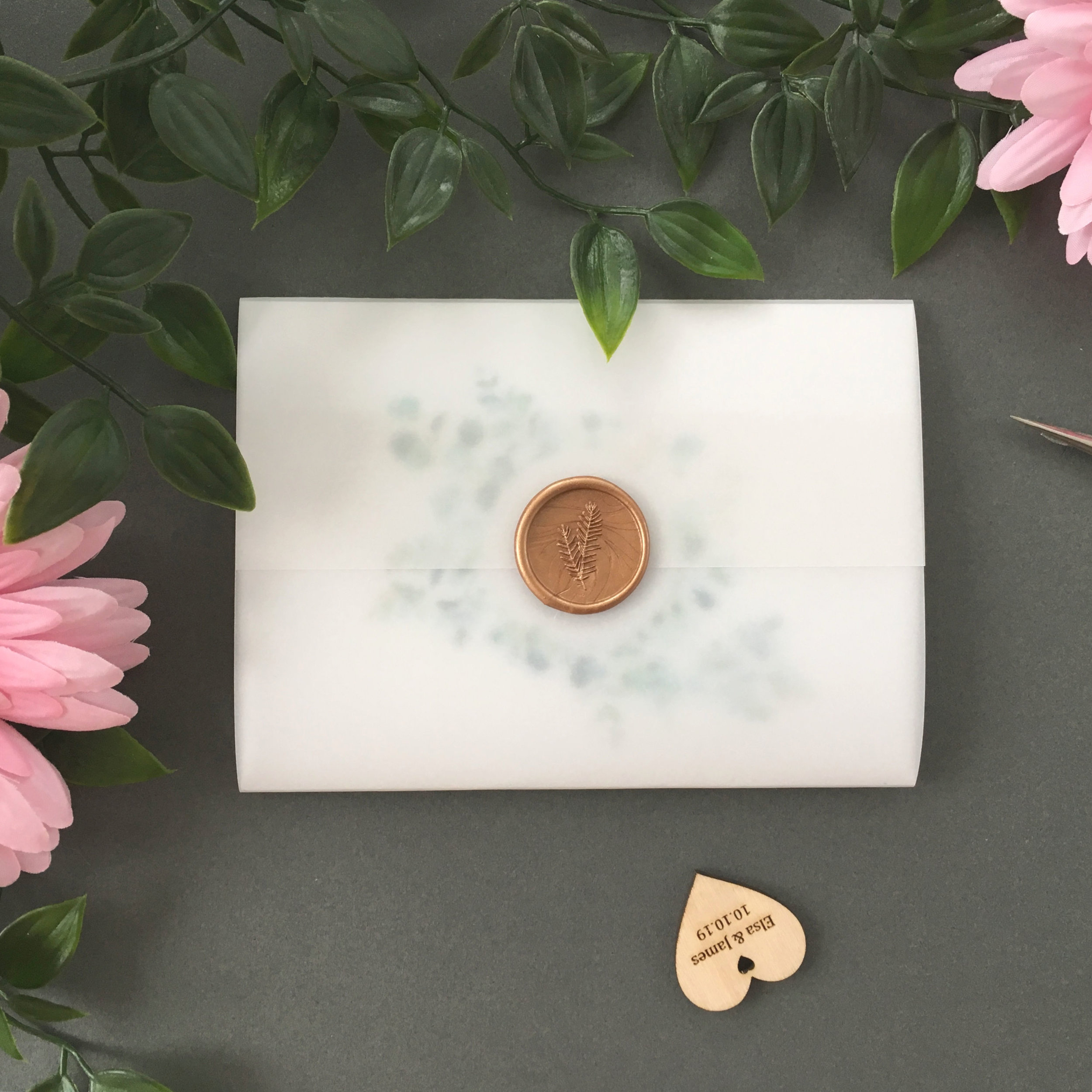 Northwood - Concertina Invitation with Vellum Jacket and Wax Seal