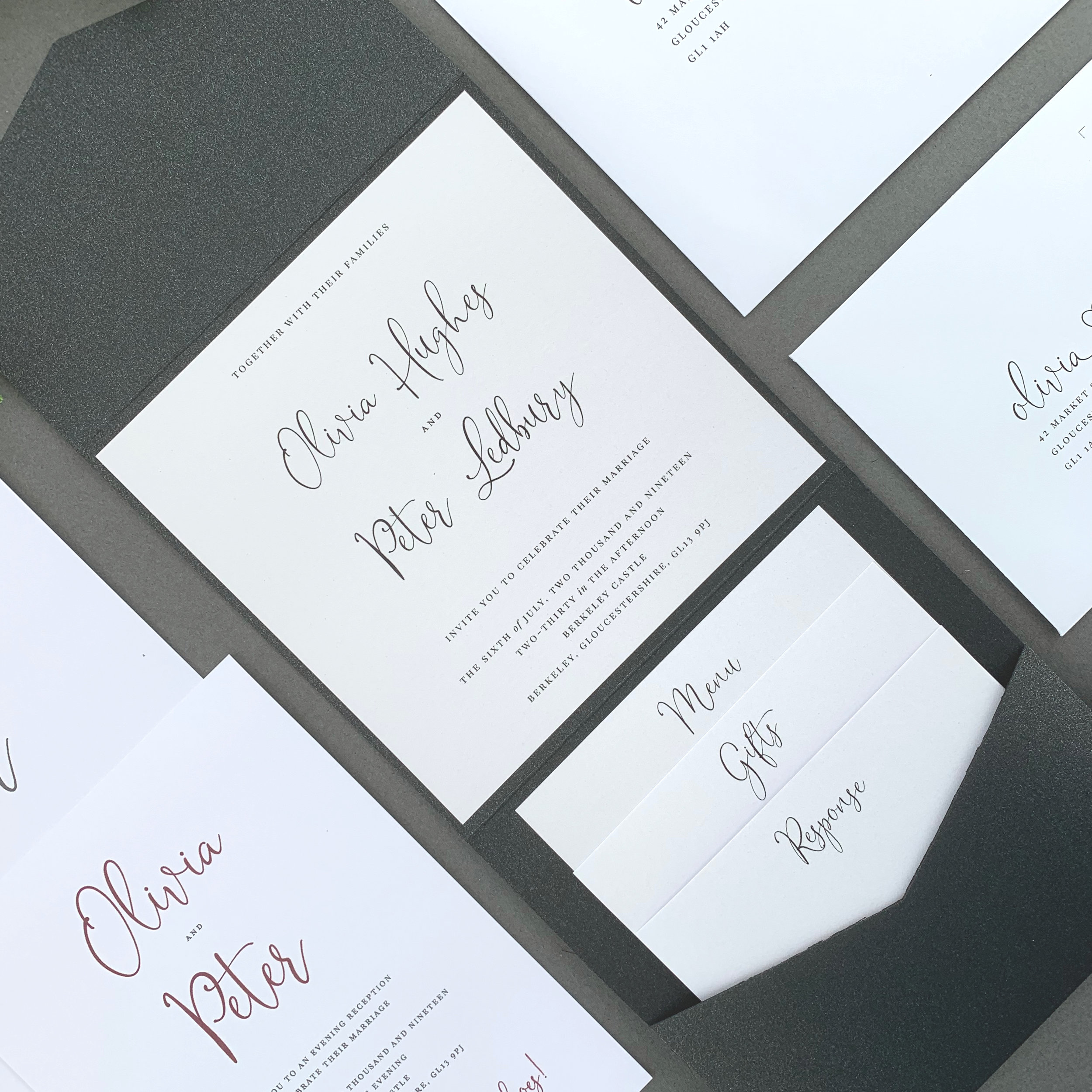 Contemporary & Versatile - Our pocketfold invitations are wonderfully versatile, ensuring you only have the items that you need.Add an RSVP card with it's envelope and up to two information cards that stack neatly into the pocket inside - with all inserts available to be printed double-sided ensuring your guests have all the details they need for your big day.