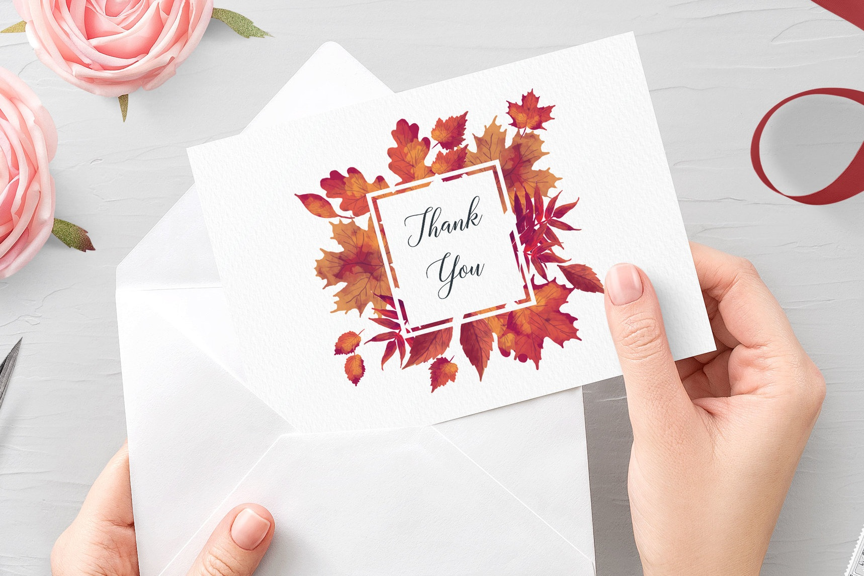Burnt Oak - Vibrant autumn leaves and classical typography make our Burnt Oak collection a fantastic choice for an autumnal wedding.Our Thank You Cards can be printed single-sided for you to write by hand on the reverse, or printed double-sided with a passage of your choice. Envelopes are included as standard.Pricing£1.09 - single-sided / £1.25 - double-sided