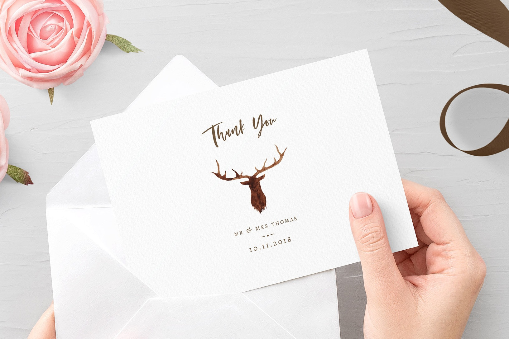 Highgate - An iconic watercolour stag's head adorn this wedding thank you card, from our vintage Highgate collection.Our Thank You Cards can be printed single-sided for you to write by hand on the reverse, or printed double-sided with a passage of your choice. Envelopes are included as standard.Pricing£1.09 - single-sided / £1.25 - double-sided
