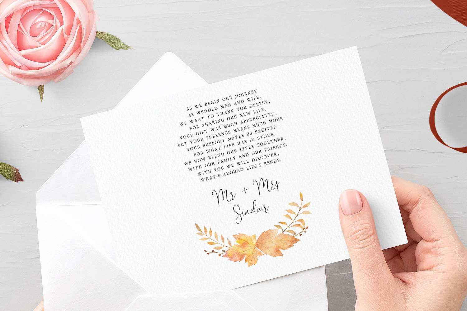 Double-sided printing - If you opt for double-sided printing then you can have a passage of your choosing printed as a message of thanks to your guests. You can use the pictured example or have something entirely of your own.