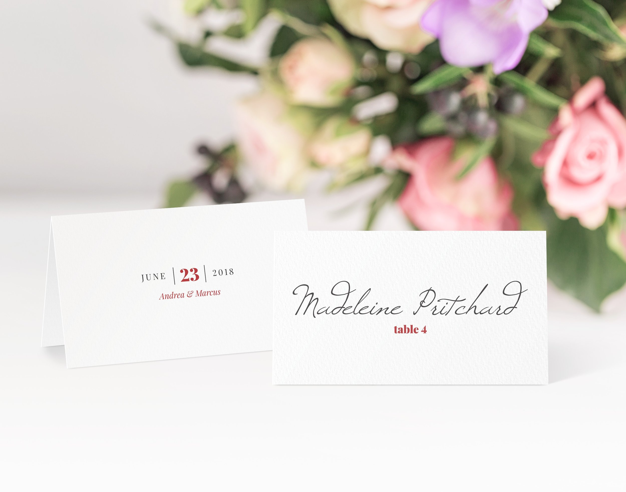 Knightsbridge - Vintage and slightly formal, our Knightsbridge collection works great with a little splash of colour, with a touch of red added to this place card.Our place cards are printed and then scored ready to be folded and placed onto your tables on the big day. Personalisation can be extended to menu choices on the reverse too.Pricing£0.80 each