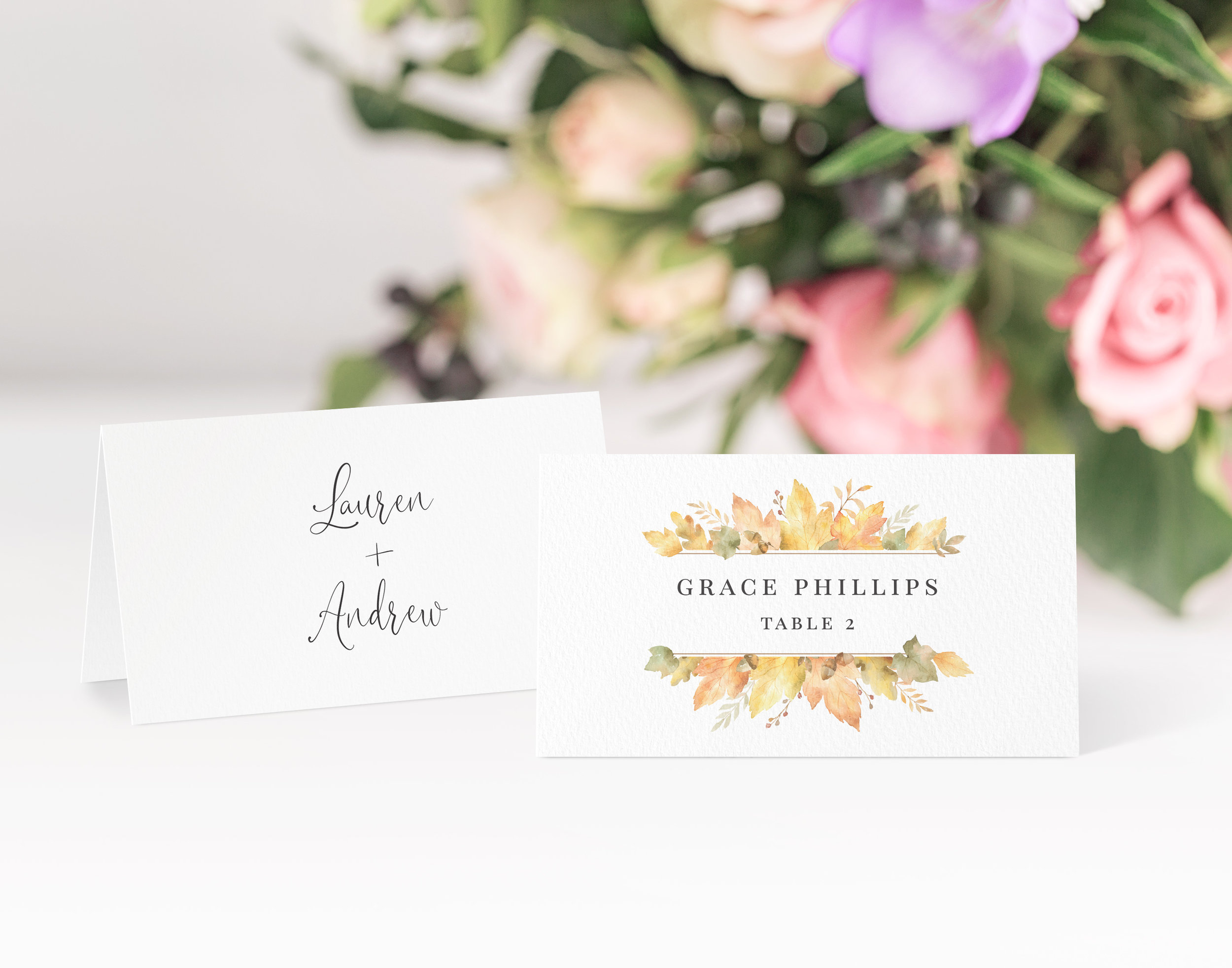Richmond - Our Richmond collection uses an understated style on this place card, using simple typography and pale autumn leaves for a stylish design.Our place cards are printed and then scored ready to be folded and placed onto your tables on the big day. Personalisation can be extended to menu choices on the reverse too.Pricing£0.80 each