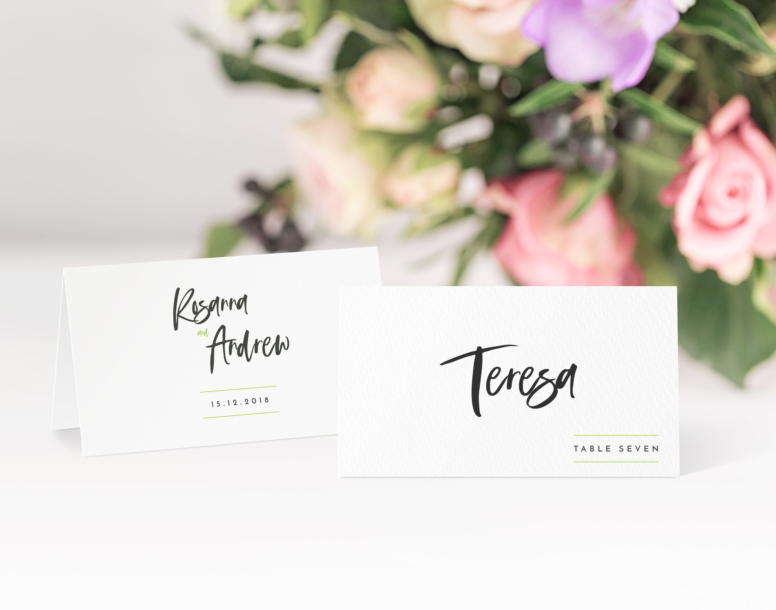 Soho - Ideally suited to a contemporary wedding day, our Soho collection is bold and vibrant, shown here with a decorative place card.Our place cards are printed and then scored ready to be folded and placed onto your tables on the big day. Personalisation can be extended to menu choices on the reverse too.Pricing£0.80 each