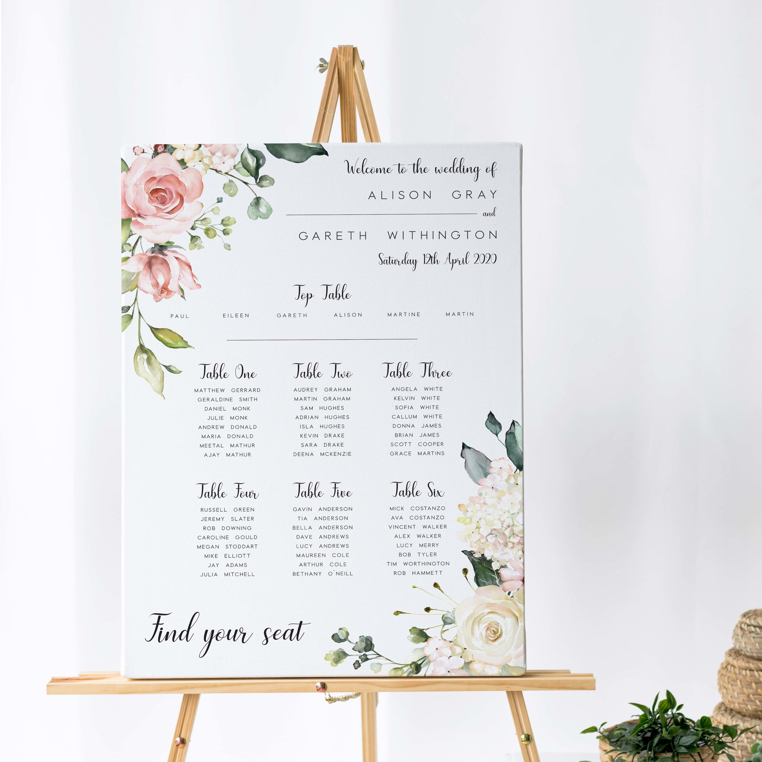 Hampstead - Our Hampstead collection uses watercolour florals alongside vintage typography on this table plan, perfect for the outdoor or summer wedding.Our table plans are printed on one of two base options, including waterproof foamex, and can be combined with a matching welcome sign and / or order of the day for a discounted rate.The layout is customisable and all orders include one-on-one design with a comprehensive proofing process to ensure accuracy.