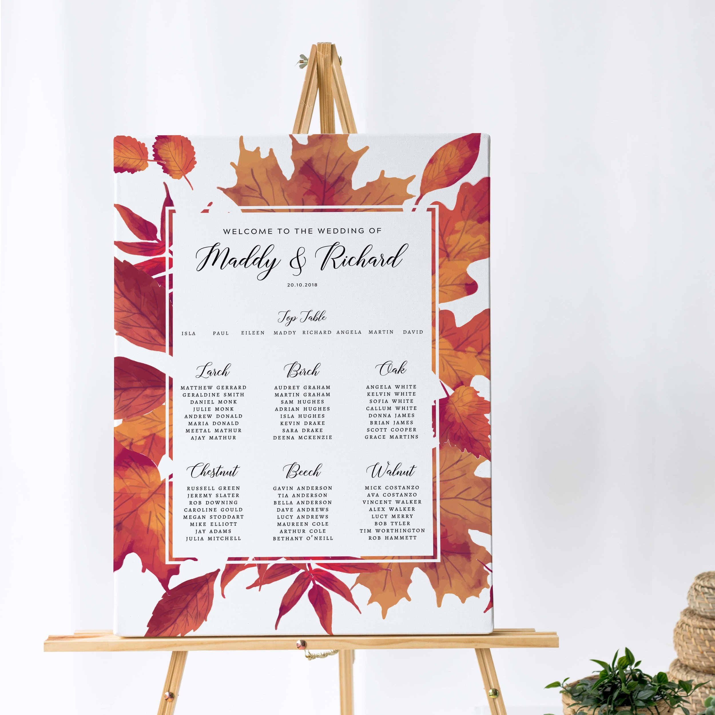 Burnt Oak - This autumnal table plan comes from our vibrant Burnt Oak collection, featuring red and copper autumn leaves, perfect for the autumn wedding day.Our table plans are printed on one of two base options, including waterproof foamex, and can be combined with a matching welcome sign and / or order of the day for a discounted rate.The layout is customisable and all orders include one-on-one design with a comprehensive proofing process to ensure accuracy.