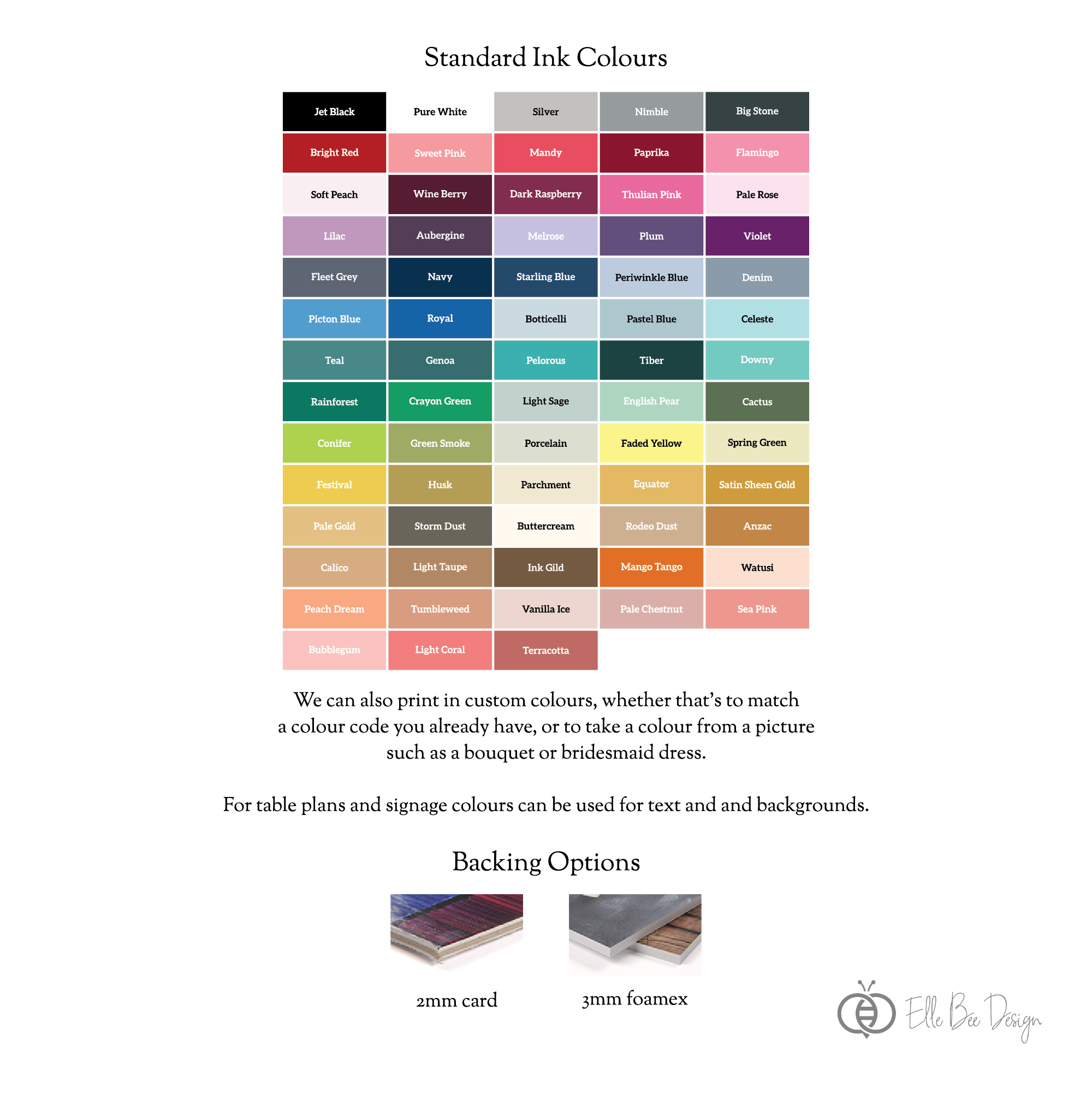 """Details - Our Table Plans are professionally printed on a choice of three substrates. Text, accents, background colours and borders are all colour customisable.- Available in either A2 (420mm x 594mm / 16.5"""" x 23.4"""") or A1 (594mm x 841mm / 23.4"""" x 33.1""""). A0 available upon request.- Discounted bundle available with either or both of a welcome sign and order of the day- Can be printed on 2mm card or 3mm foamex- A2 table plan includes welcome banner, top table and up to 8 tables- A1 table plan includes welcome banner, top table and up to 15 tables- Can be printed with table numbers or custom names- Choice of 60+ colours for printing- One-on-one design with comprehensive digital proofing process- Easel not supplied"""