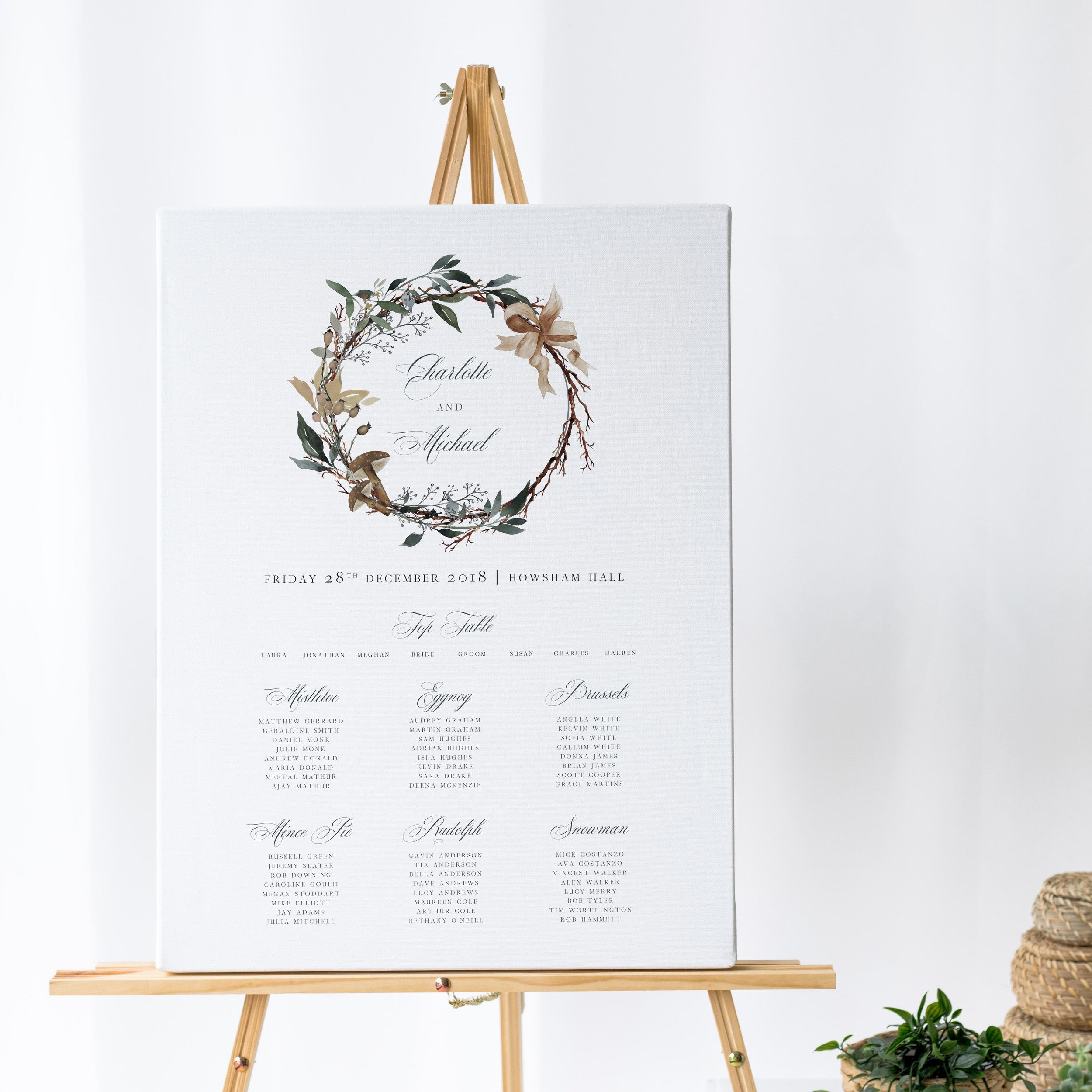 Oxford - Classical matrimonial typography is combined with a gorgeous watercolour wreath, making our Oxford collection the perfect choice for a classically-styled winter or Christmas wedding.Our table plans are printed on one of two base options, including waterproof foamex, and can be combined with a matching welcome sign and / or order of the day for a discounted rate.The layout is customisable and all orders include one-on-one design with a comprehensive proofing process to ensure accuracy.