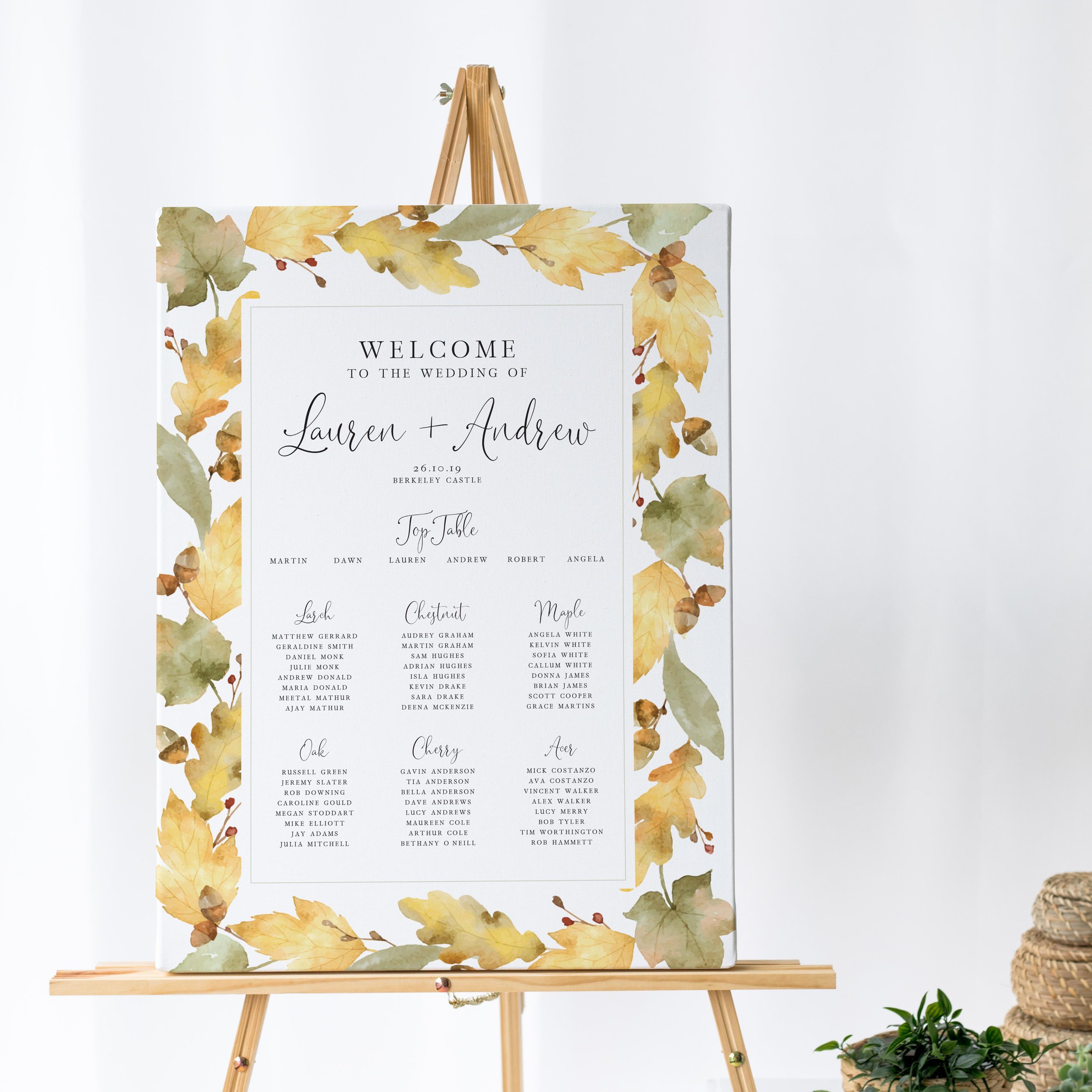 Richmond - Elegant, with a vintage style, this Table Plan comes from our autumn-inspired Richmond collection. Using subtle autumnal artwork, this design is understated with its theme.Our table plans are printed on one of two base options, including waterproof foamex, and can be combined with a matching welcome sign and / or order of the day for a discounted rate.The layout is customisable and all orders include one-on-one design with a comprehensive proofing process to ensure accuracy.