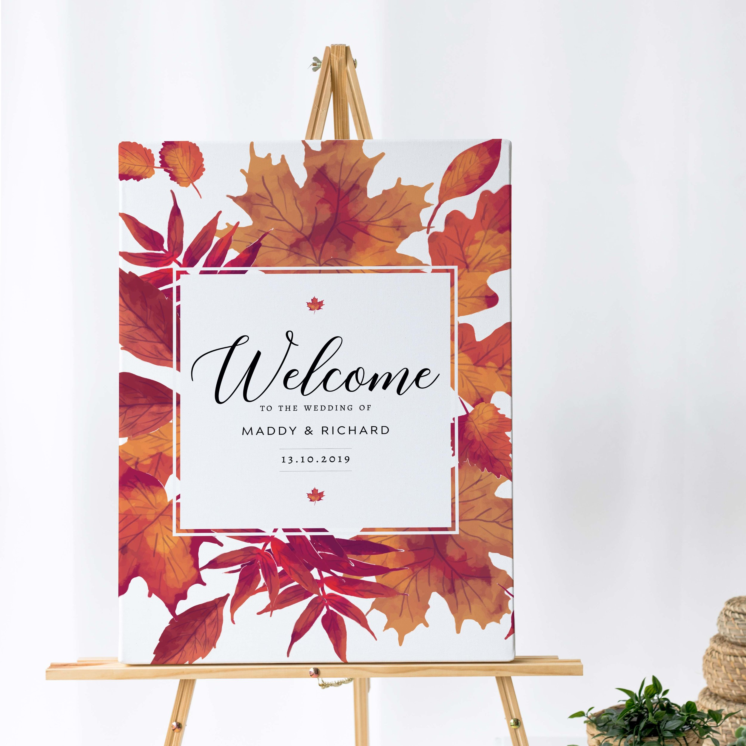 Burnt Oak - A vibrant autumnal design, this beautiful wedding welcome sign comes from our colourful Burnt Oak collection.Our welcome signs are printed on one of two base options, including waterproof foamex, and can be combined with a matching table plan and / or order of the day for a discounted rate.