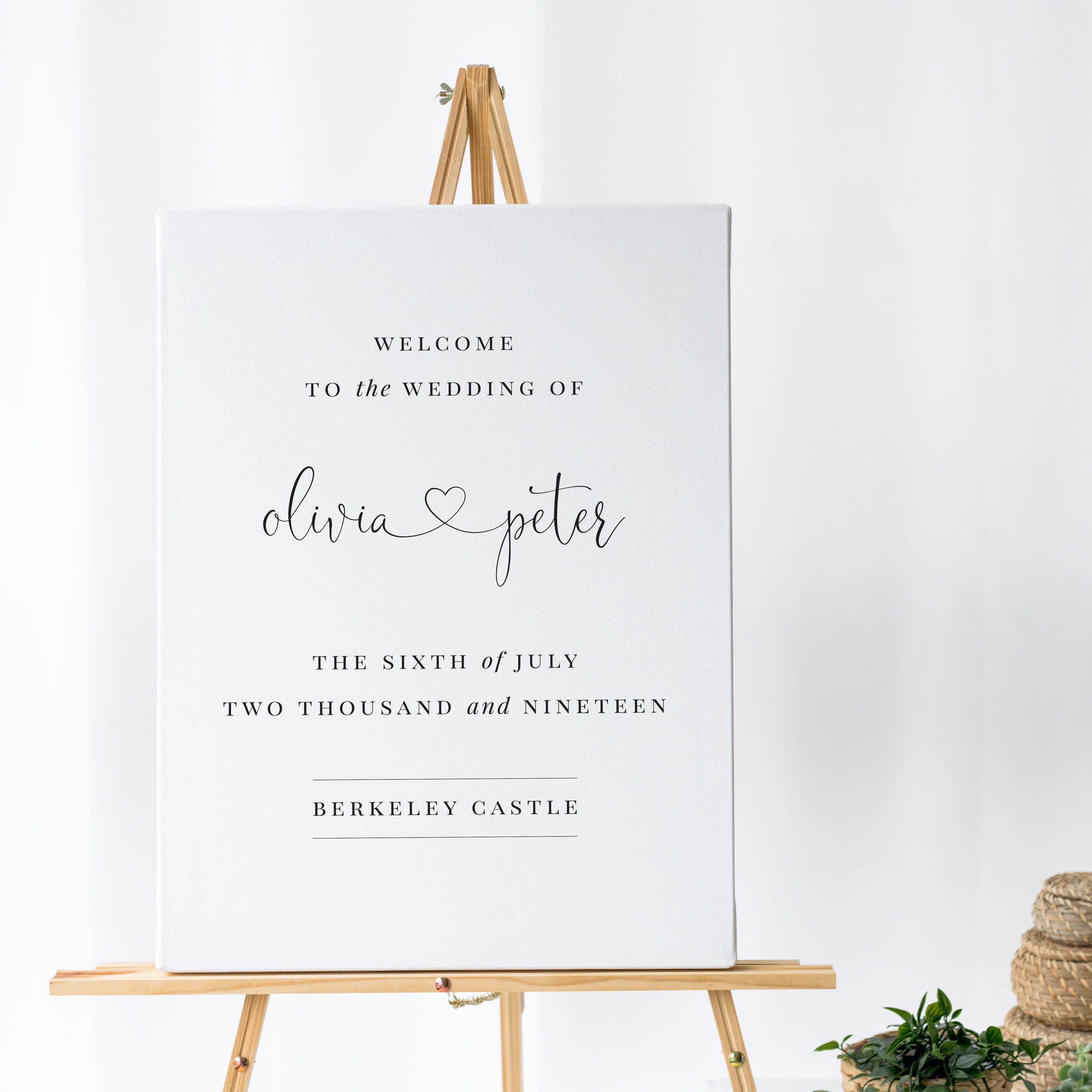Finchley - Our Finchley collection is all about simplicity and elegance. This wedding welcome sign uses the couple's names joined with a heart and combined with elegant typography makes for a contemporary welcome to your guests.Our welcome signs are printed on one of two base options, including waterproof foamex, and can be combined with a matching table plan and / or order of the day for a discounted rate.