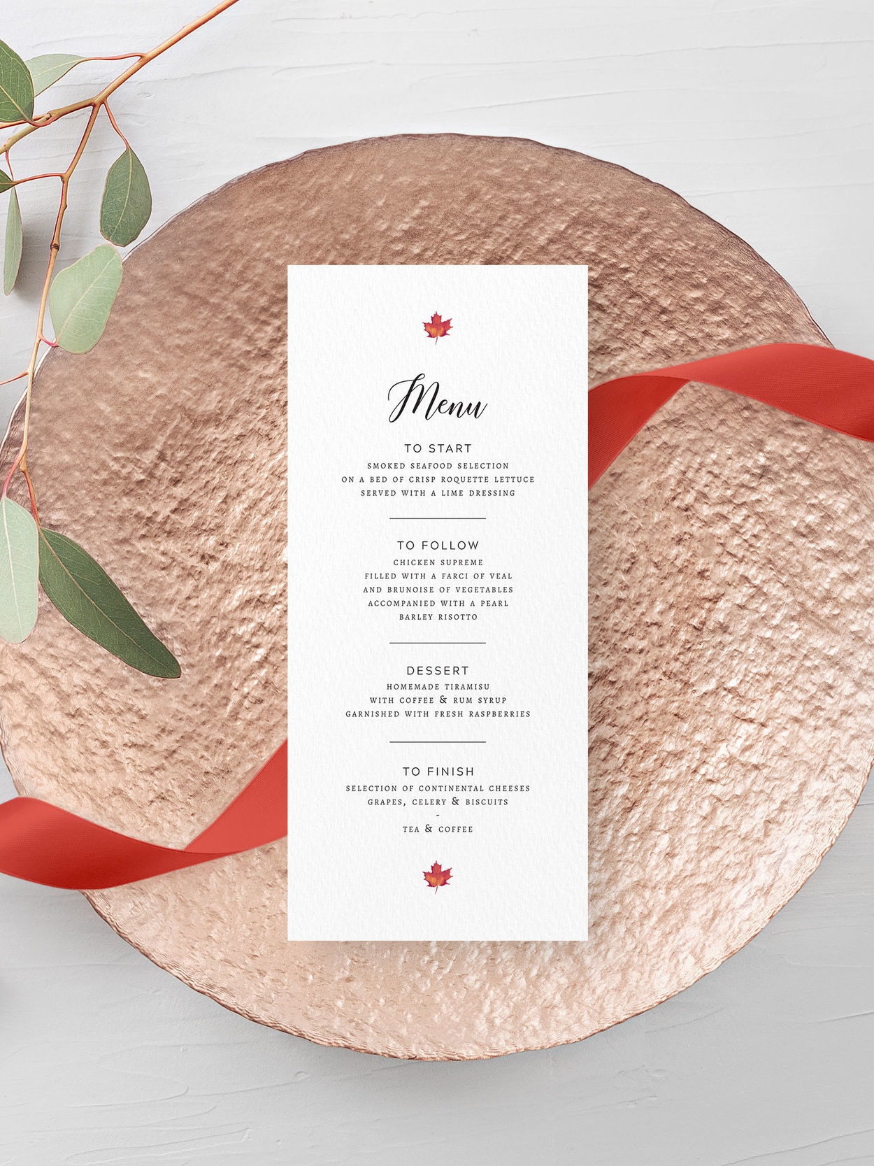 Burnt Oak - This autumnal menu card comes from our Burnt Oak collection, featuring classical typography and vibrant leaves and foliage for an autumn wedding day.Our menu cards can be printed single- or double-sided, and can double as place cards by having them personalised with a guest name too.Pricing£1.15 - standard, single-sided / £1.65 - personalised, single-sided£1.40 - standard, double-sided / £1.90 - personalised, double-sided