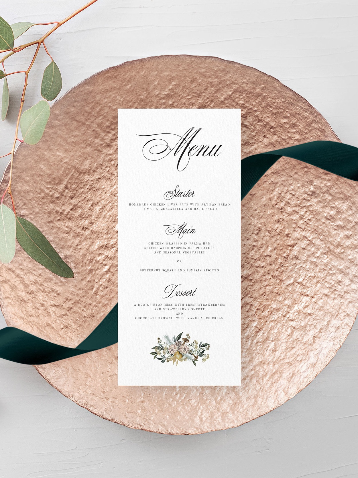 Oxford - Traditional typography is paired with winter floral artwork for a menu card ideally suited to a winter wedding day.Our menu cards can be printed single- or double-sided, and can double as place cards by having them personalised with a guest name too.Pricing£1.15 - standard, single-sided / £1.65 - personalised, single-sided£1.40 - standard, double-sided / £1.90 - personalised, double-sided