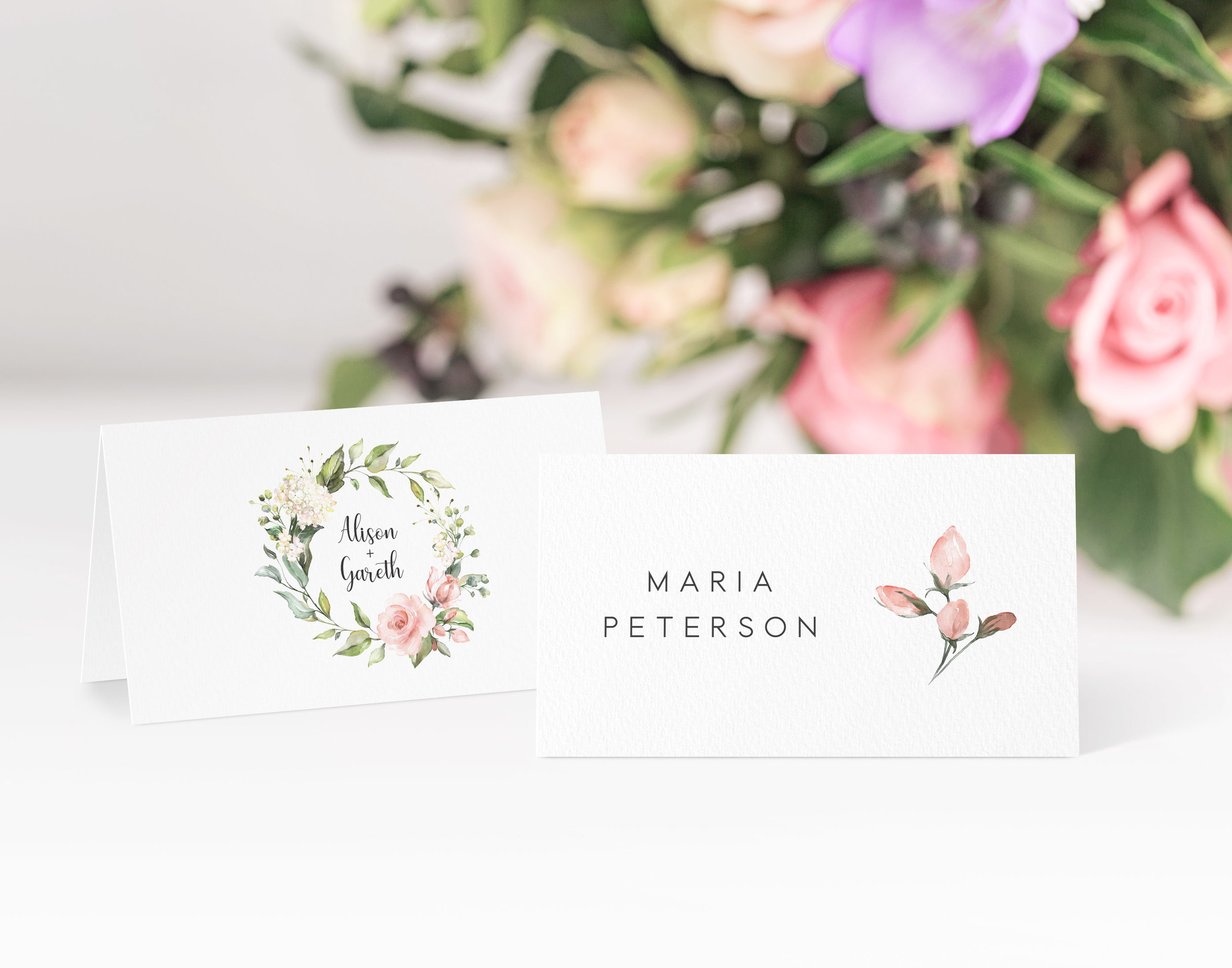 Hampstead - With a simple botanical style, our Hampstead collection is a lovely design for a contemporary, outdoor wedding day.Our place cards are printed and then scored ready to be folded and placed onto your tables on the big day. Personalisation can be extended to menu choices on the reverse too.Pricing£0.80 each