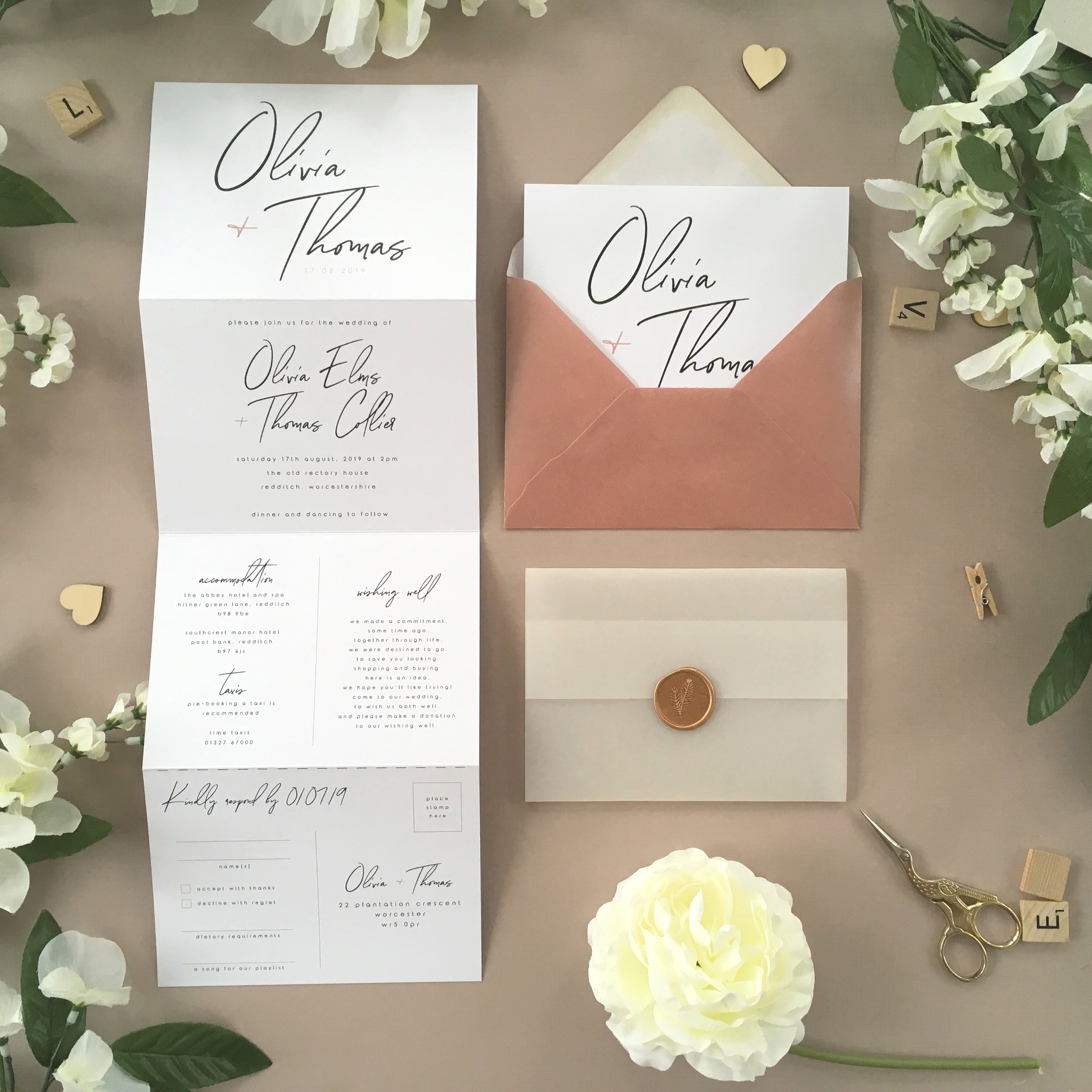 Chelsea - A beautiful handwritten script creates a modern and striking wedding invitation design from our new Chelsea collection.Our concertina invitations are a great all-in-one solution, with a detachable RSVP at the bottom of the invitation - all guests need to do is fill in their details, put a stamp in the corner and post!Concertina invitations can be provided on an as-is basis, or can be provided bound with a vellum jacket and timeless wax seal, or tied with ribbon or twine for a lovely hand-finished approach.- Concertina Invitation - from £1.95- Ribbon or Twine - £0.40- Vellum Jacket - £0.40- Wax Seal - £0.85 (Custom engraving also available)White envelope provided as standard with coloured upgrade available.