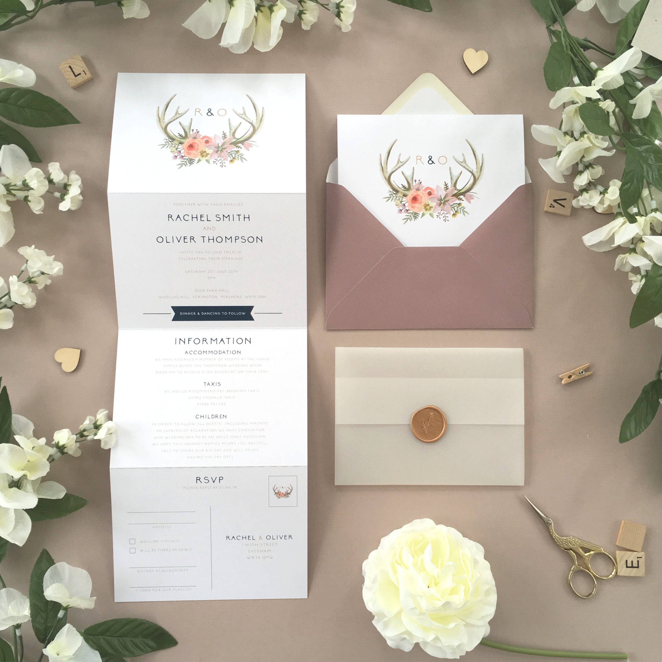Epping - Our Epping collection uses a simple, unfussy and Boho theme with floral antlers as part of it's theme on this concertina invitation.Our concertina invitations are a great all-in-one solution, with a detachable RSVP at the bottom of the invitation - all guests need to do is fill in their details, put a stamp in the corner and post!Concertina invitations can be provided on an as-is basis, or can be provided bound with a vellum jacket and timeless wax seal, or tied with ribbon or twine for a lovely hand-finished approach.- Concertina Invitation - from £1.95- Ribbon or Twine - £0.40- Vellum Jacket - £0.40- Wax Seal - £0.85 (Custom engraving also available)White envelope provided as standard with coloured upgrade available.