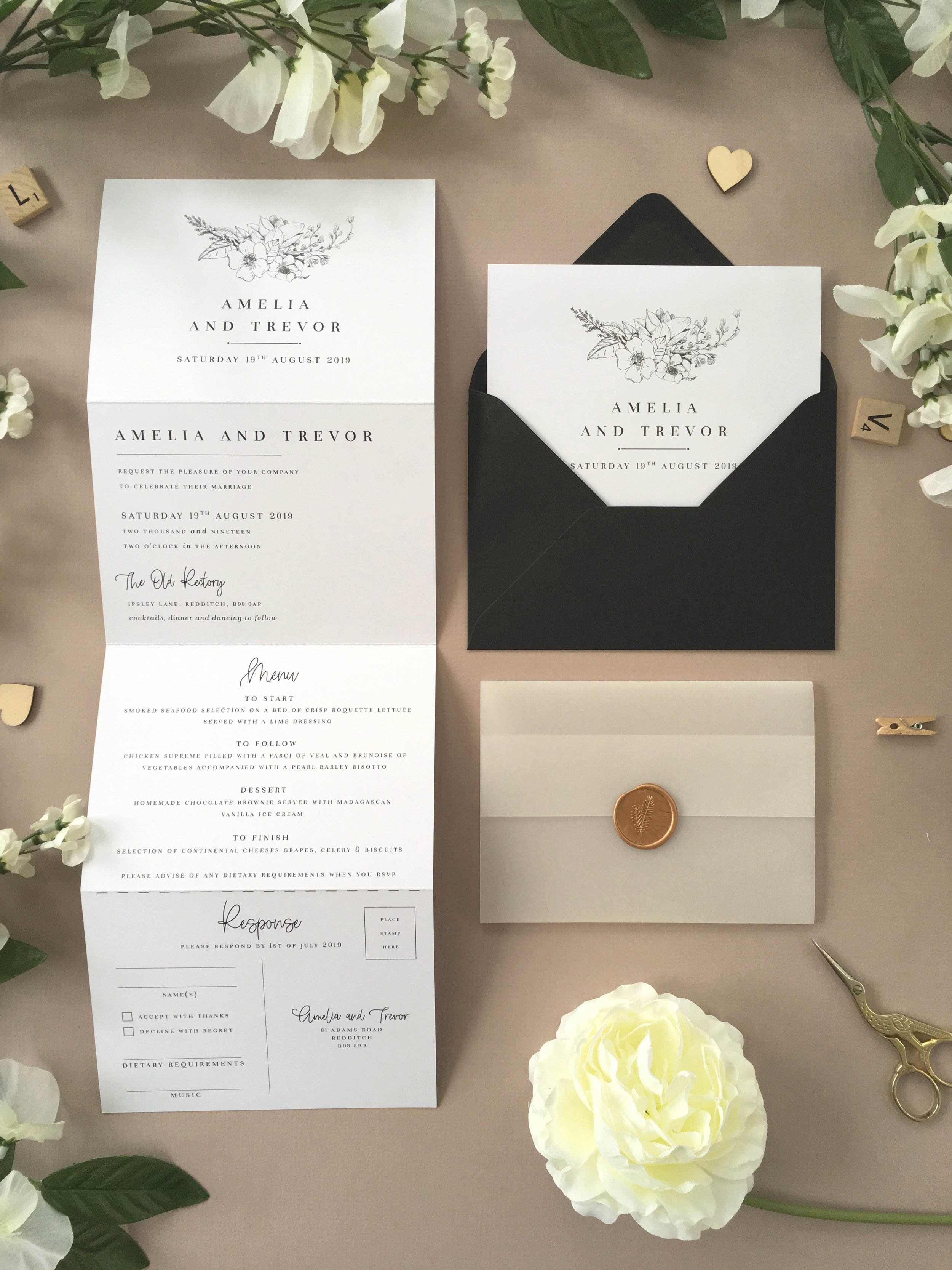 Green Park - Our Green Park collection uses subtle florals with simple, classical typography which looks beautifully elegant with this concertina wedding invitation.Our concertina invitations are a great all-in-one solution, with a detachable RSVP at the bottom of the invitation - all guests need to do is fill in their details, put a stamp in the corner and post!Concertina invitations can be provided on an as-is basis, or can be provided bound with a vellum jacket and timeless wax seal, or tied with ribbon or twine for a lovely hand-finished approach.- Concertina Invitation - from £1.95- Ribbon or Twine - £0.40- Vellum Jacket - £0.40- Wax Seal - £0.85 (Custom engraving also available)White envelope provided as standard with coloured upgrade available.