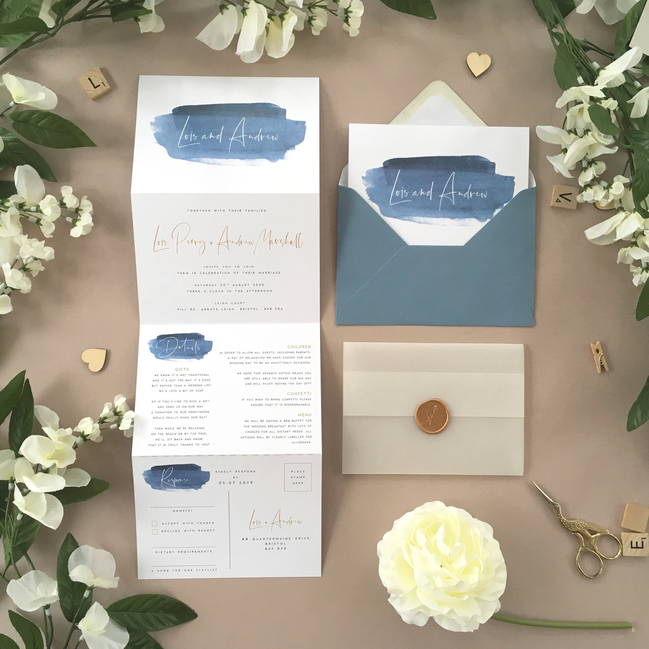Greenwich - Our new Greenwich collection uses beautiful blue watercolour artwork alongside stylised typography for a contemporary, elegant design and the use of blue makes this perfect for a beach or destination wedding.Our concertina invitations are a great all-in-one solution, with a detachable RSVP at the bottom of the invitation - all guests need to do is fill in their details, put a stamp in the corner and post!Concertina invitations can be provided on an as-is basis, or can be provided bound with a vellum jacket and timeless wax seal, or tied with ribbon or twine for a lovely hand-finished approach.- Concertina Invitation - from £1.95- Ribbon or Twine - £0.40- Vellum Jacket - £0.40- Wax Seal - £0.85 (Custom engraving also available)White envelope provided as standard with coloured upgrade available.