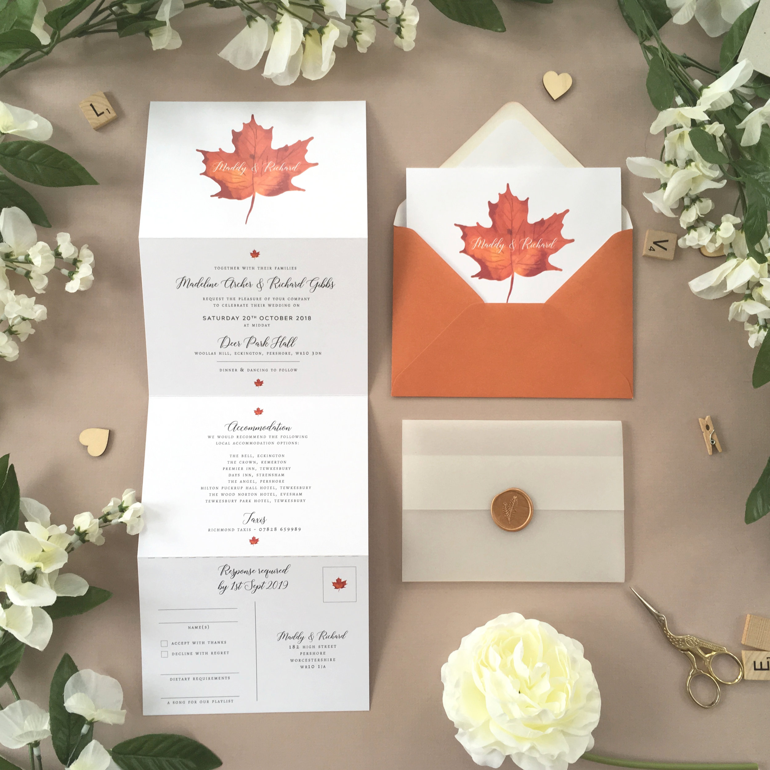 Burnt Oak - Our Burnt Oak collection is a vibrant autumnal design, using a maple leaf design throughout this concertina wedding invitation.Our concertina invitations are a great all-in-one solution, with a detachable RSVP at the bottom of the invitation - all guests need to do is fill in their details, put a stamp in the corner and post!Concertina invitations can be provided on an as-is basis, or can be provided bound with a vellum jacket and timeless wax seal, or tied with ribbon or twine for a lovely hand-finished approach.- Concertina Invitation - from £1.95- Ribbon or Twine - £0.40- Vellum Jacket - £0.40- Wax Seal - £0.85 (Custom engraving also available)White envelope provided as standard with coloured upgrade available.