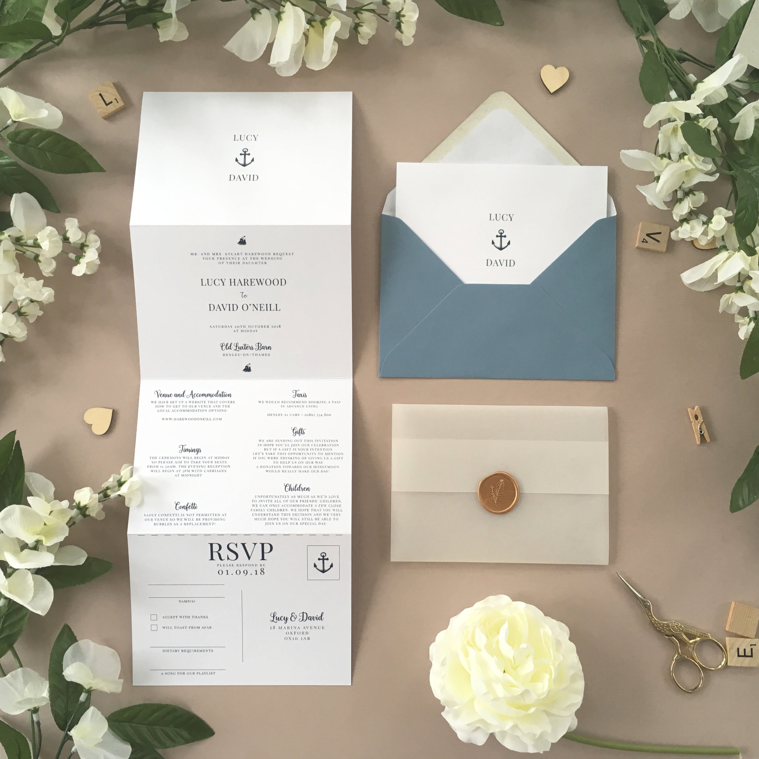 Canary Wharf - Classically-styled with nautical themes, our Canary Wharf collection is perfect for those having a sea-themed wedding.Our concertina invitations are a great all-in-one solution, with a detachable RSVP at the bottom of the invitation - all guests need to do is fill in their details, put a stamp in the corner and post!Concertina invitations can be provided on an as-is basis, or can be provided bound with a vellum jacket and timeless wax seal, or tied with ribbon or twine for a lovely hand-finished approach.- Concertina Invitation - from £1.95- Ribbon or Twine - £0.40- Vellum Jacket - £0.40- Wax Seal - £0.85 (Custom engraving also available)White envelope provided as standard with coloured upgrade available.