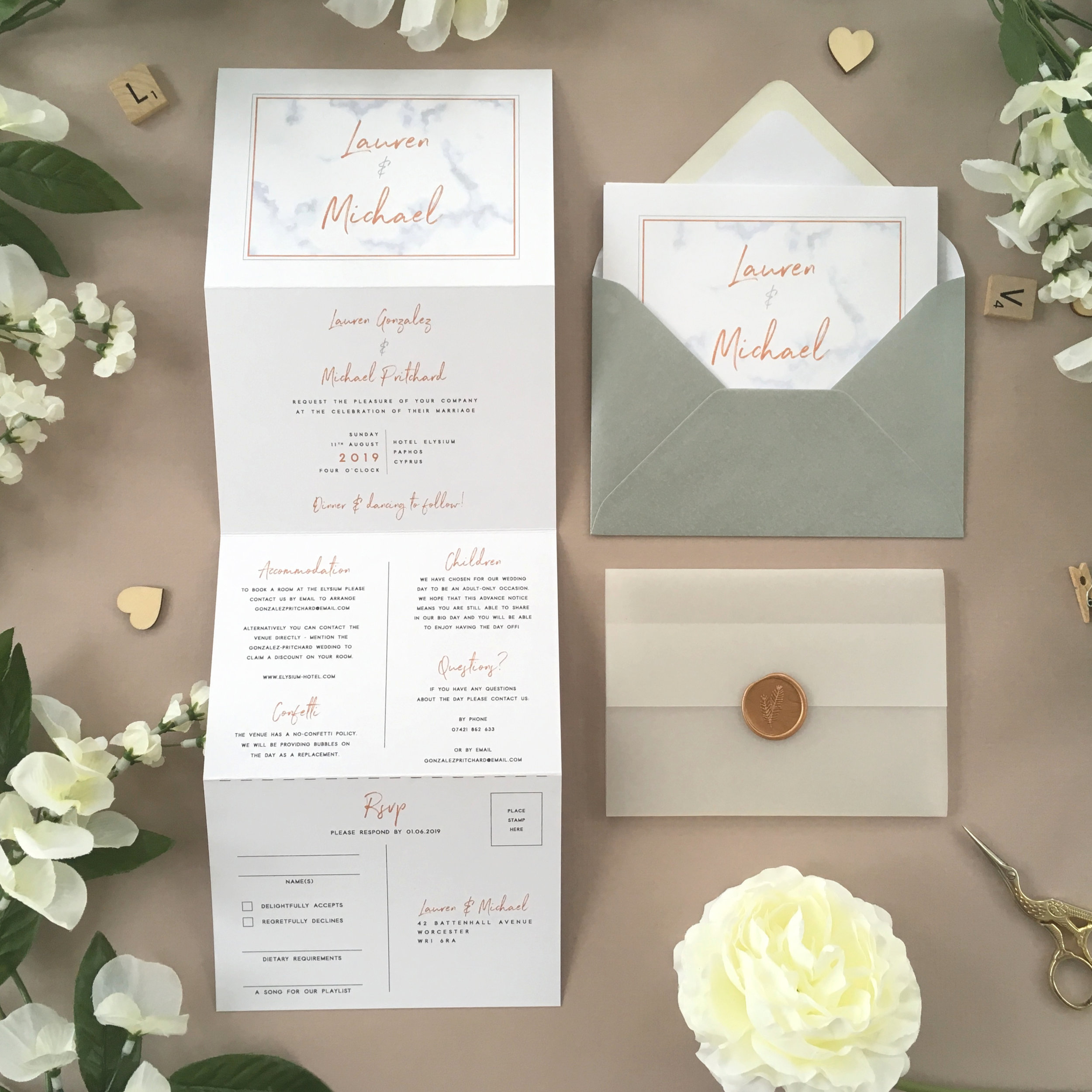 Chiswick - Our Chiswick collection uses a marble effect framed background with handwritten typography for a clean and modern invitation design.Our concertina invitations are a great all-in-one solution, with a detachable RSVP at the bottom of the invitation - all guests need to do is fill in their details, put a stamp in the corner and post!Concertina invitations can be provided on an as-is basis, or can be provided bound with a vellum jacket and timeless wax seal, or tied with ribbon or twine for a lovely hand-finished approach.- Concertina Invitation - from £1.95- Ribbon or Twine - £0.40- Vellum Jacket - £0.40- Wax Seal - £0.85 (Custom engraving also available)White envelope provided as standard with coloured upgrade available.
