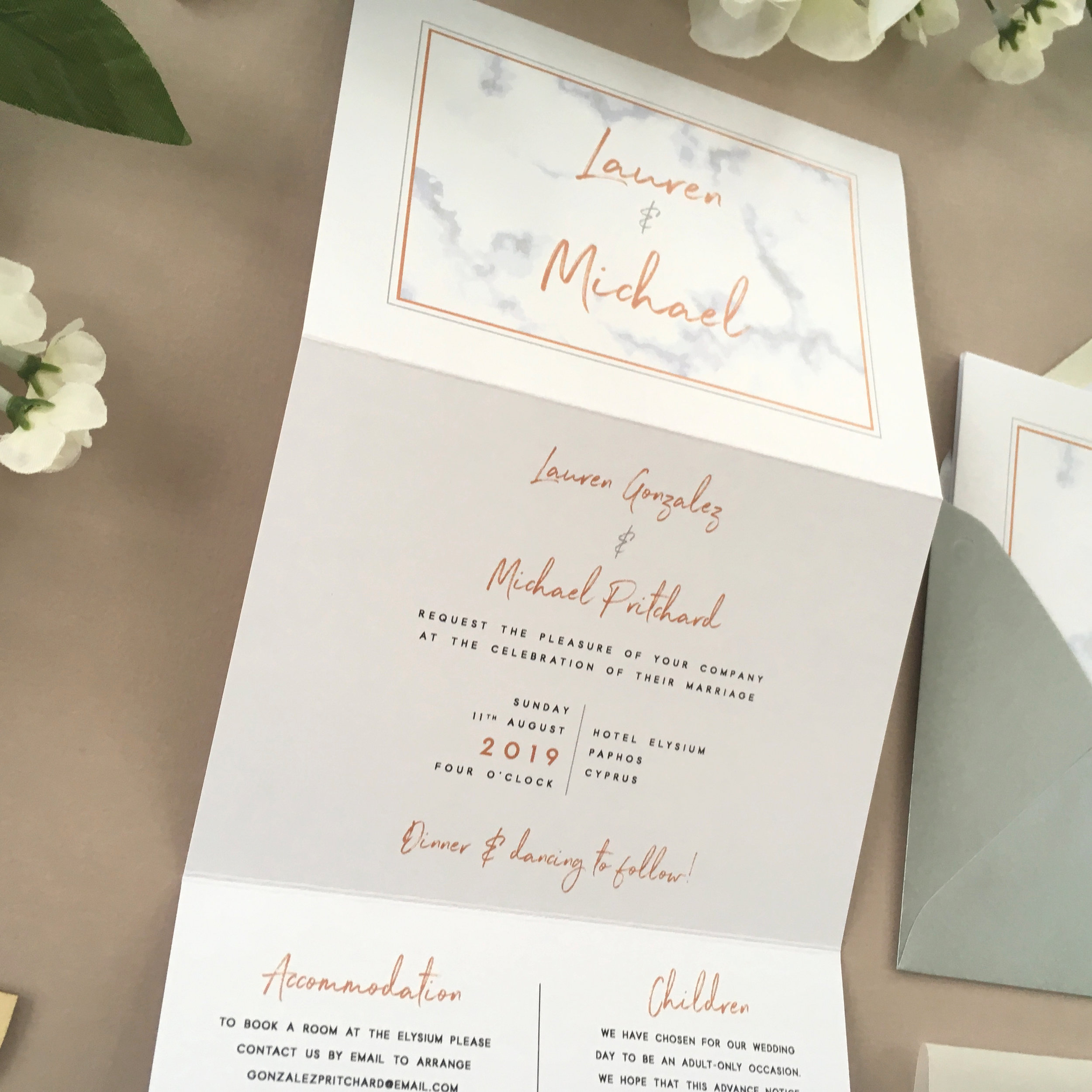 All-in-One Design - The concertina style is extremely popular for it's unique layout and for offering everything needed in a simple all-in-one package.Perfect for smaller amounts of information, this unique design is a modern alternative to more classical invitation styles.