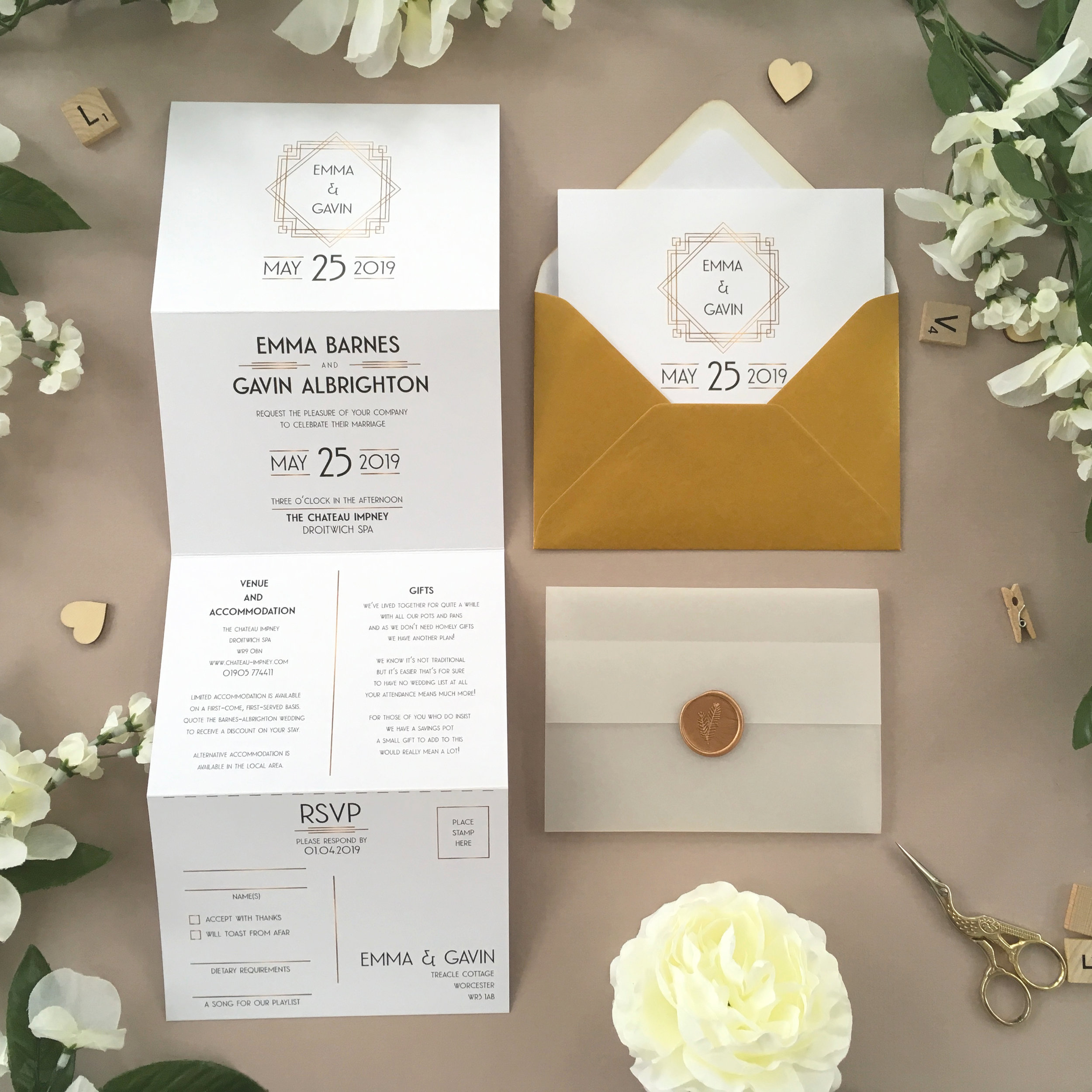 Earl's Court - We use classic Art Deco styling with gold accents and traditional 1920's typography for a classical Gatsby-inspired wedding invitation.Our concertina invitations are a great all-in-one solution, with a detachable RSVP at the bottom of the invitation - all guests need to do is fill in their details, put a stamp in the corner and post!Concertina invitations can be provided on an as-is basis, or can be provided bound with a vellum jacket and timeless wax seal, or tied with ribbon or twine for a lovely hand-finished approach.- Concertina Invitation - from £1.95- Ribbon or Twine - £0.40- Vellum Jacket - £0.40- Wax Seal - £0.85 (Custom engraving also available)White envelope provided as standard with coloured upgrade available.