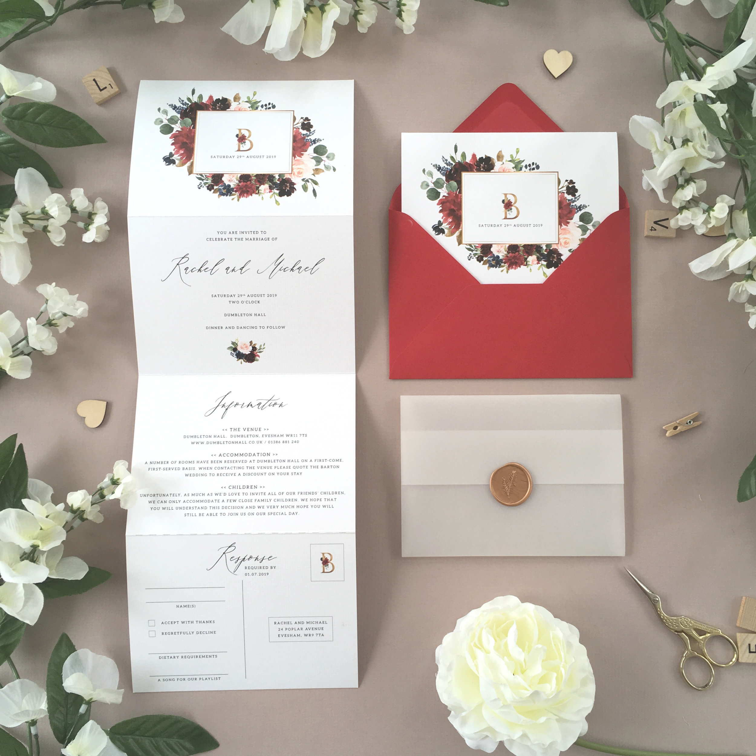 Elm Park - This concertina wedding invitation comes from our colourful and stylish Elm Park collection, combining rich florals and golden accents.Our concertina invitations are a great all-in-one solution, with a detachable RSVP at the bottom of the invitation - all guests need to do is fill in their details, put a stamp in the corner and post!Concertina invitations can be provided on an as-is basis, or can be provided bound with a vellum jacket and timeless wax seal, or tied with ribbon or twine for a lovely hand-finished approach.- Concertina Invitation - from £1.95- Ribbon or Twine - £0.40- Vellum Jacket - £0.40- Wax Seal - £0.85 (Custom engraving also available)White envelope provided as standard with coloured upgrade available.
