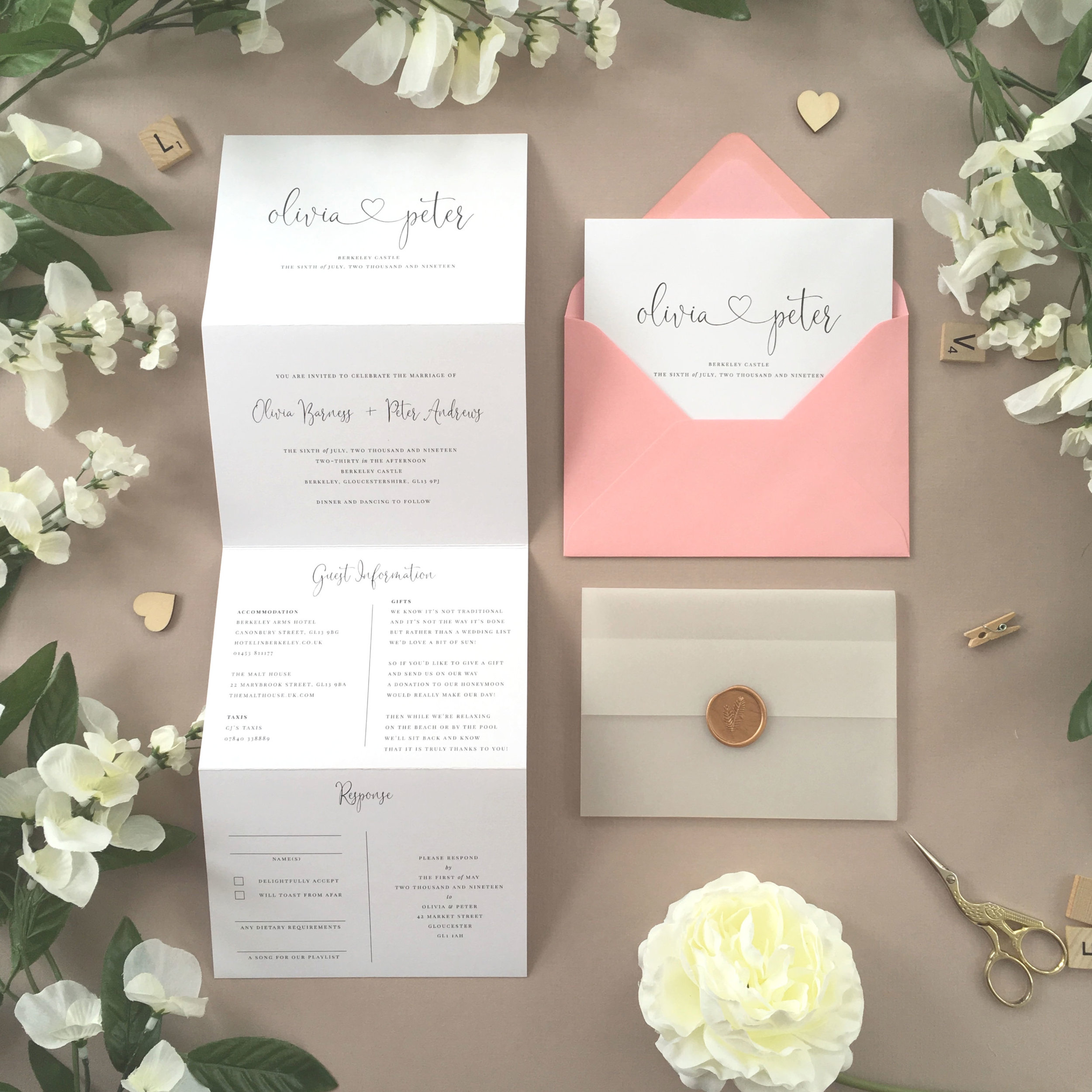 Finchley - Finchley is one of our most popular collections, using simple typography and a lovely presentation of the couple's names, joined with a heart.Our concertina invitations are a great all-in-one solution, with a detachable RSVP at the bottom of the invitation - all guests need to do is fill in their details, put a stamp in the corner and post!Concertina invitations can be provided on an as-is basis, or can be provided bound with a vellum jacket and timeless wax seal, or tied with ribbon or twine for a lovely hand-finished approach.- Concertina Invitation - from £1.95- Ribbon or Twine - £0.40- Vellum Jacket - £0.40- Wax Seal - £0.85 (Custom engraving also available)White envelope provided as standard with coloured upgrade available.