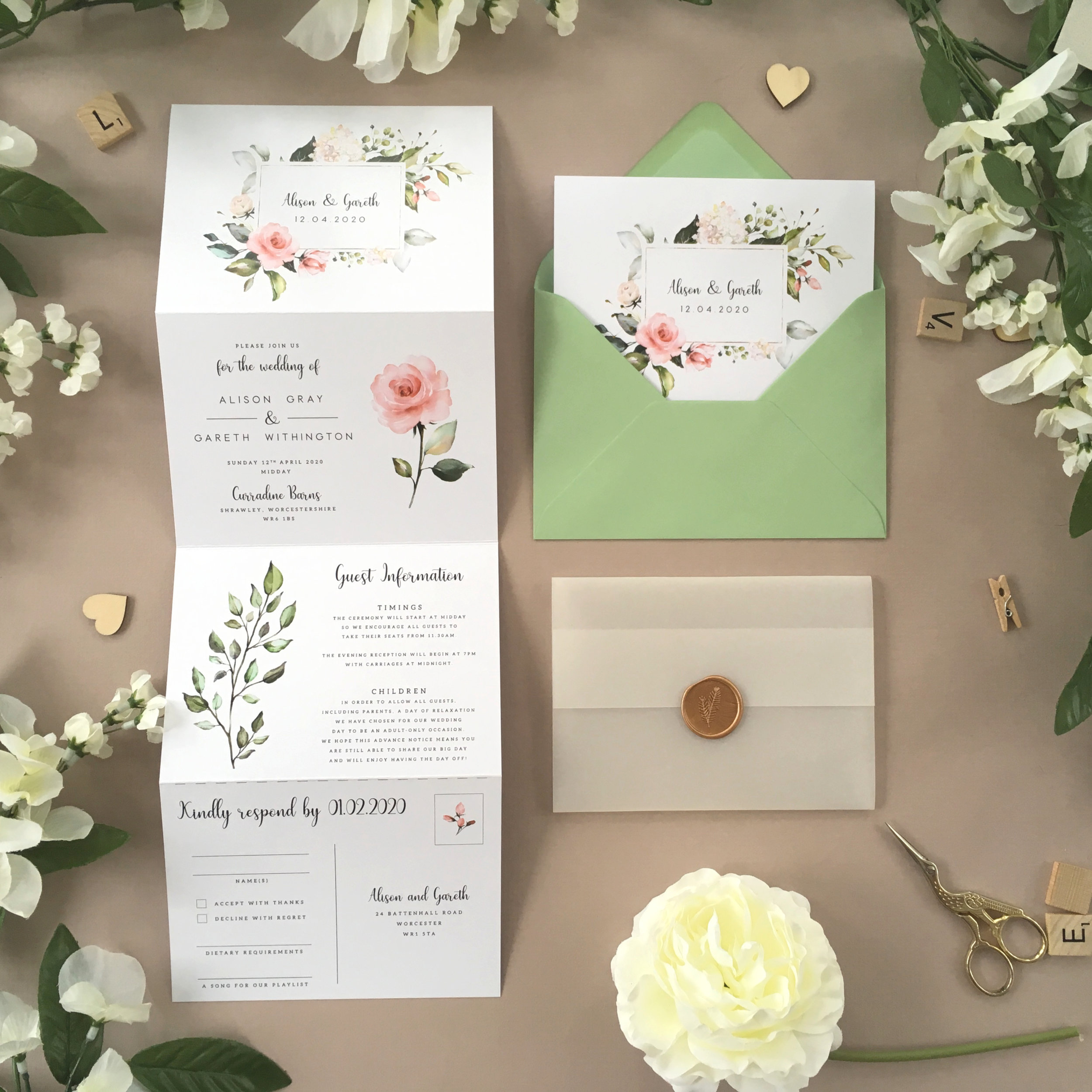 Hampstead - Our Hampstead collection uses beautiful floral artwork on this concertina wedding invitation, alongside vintage typography for a pretty invitation design.Our concertina invitations are a great all-in-one solution, with a detachable RSVP at the bottom of the invitation - all guests need to do is fill in their details, put a stamp in the corner and post!Concertina invitations can be provided on an as-is basis, or can be provided bound with a vellum jacket and timeless wax seal, or tied with ribbon or twine for a lovely hand-finished approach.- Concertina Invitation - from £1.95- Ribbon or Twine - £0.40- Vellum Jacket - £0.40- Wax Seal - £0.85 (Custom engraving also available)White envelope provided as standard with coloured upgrade available.