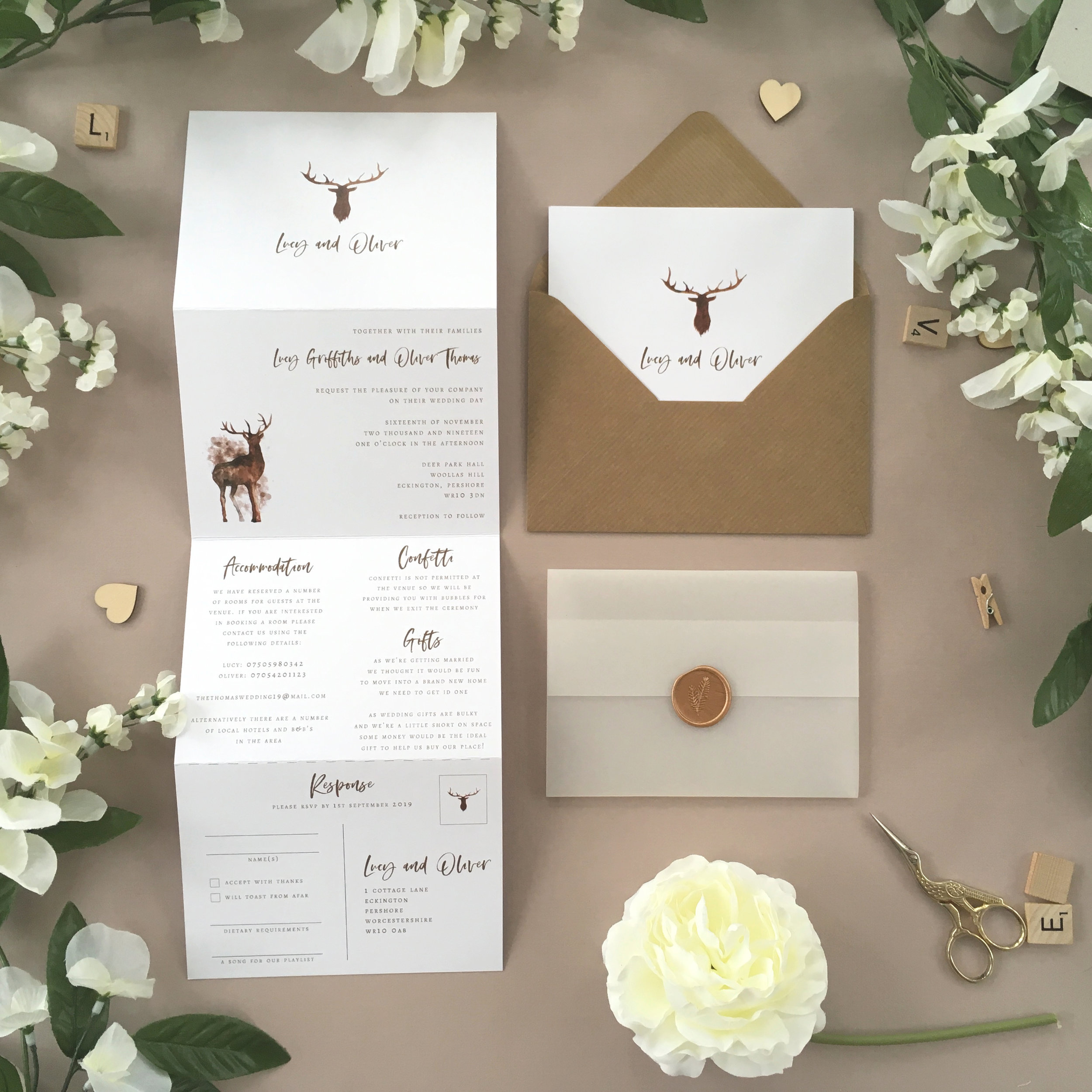 Highgate - Ideal for a rustic, vintage or outdoor wedding, our Highgate collection uses iconic watercolour deer imagery for a lovely outdoor-inspired design.Our concertina invitations are a great all-in-one solution, with a detachable RSVP at the bottom of the invitation - all guests need to do is fill in their details, put a stamp in the corner and post!Concertina invitations can be provided on an as-is basis, or can be provided bound with a vellum jacket and timeless wax seal, or tied with ribbon or twine for a lovely hand-finished approach.- Concertina Invitation - from £1.95- Ribbon or Twine - £0.40- Vellum Jacket - £0.40- Wax Seal - £0.85 (Custom engraving also available)White envelope provided as standard with coloured upgrade available.