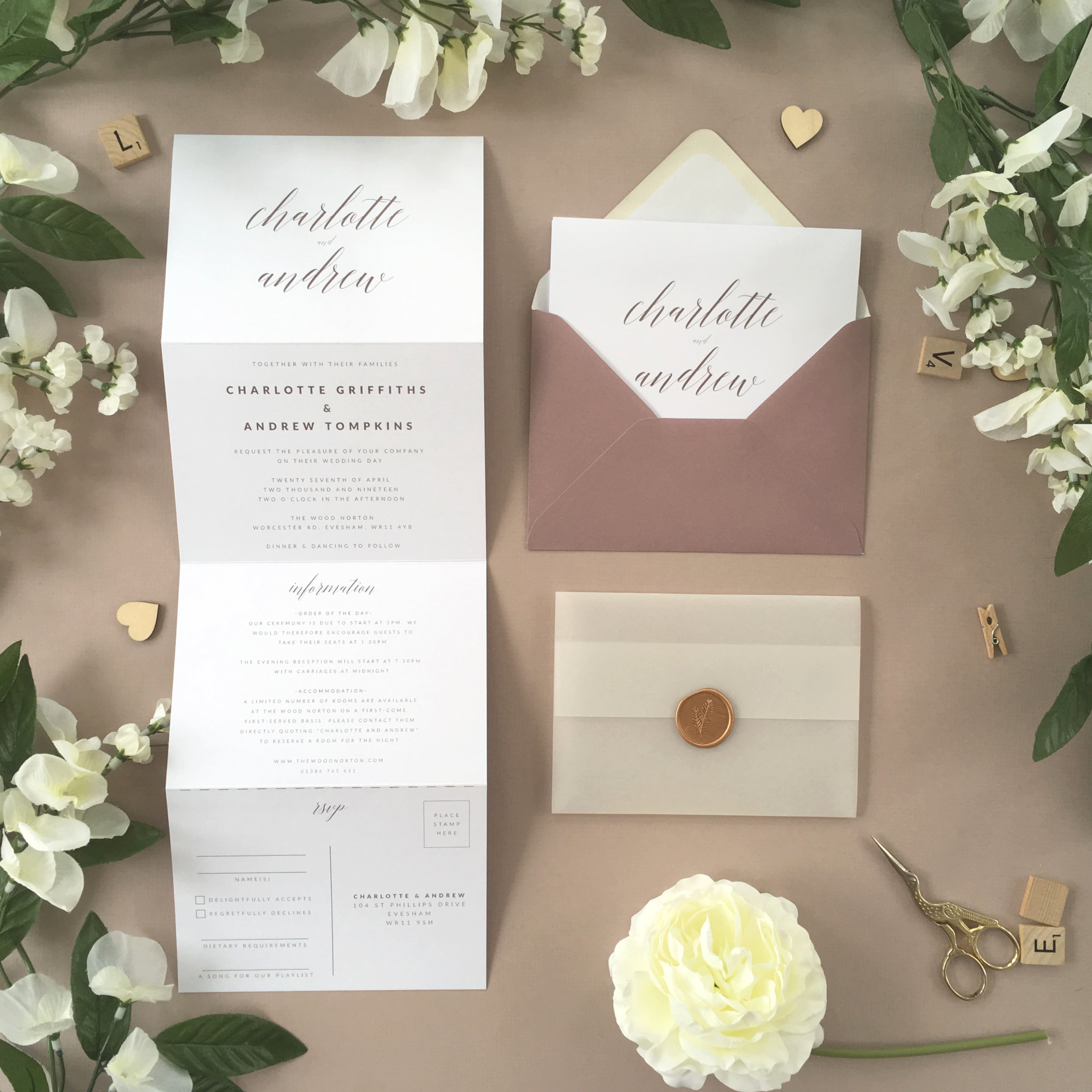 King's Road - Pictured in a dusky scheme but with limitless colouring combinations to choose from, this beautifully elegant concertina invitation comes from our King's Road collection.Our concertina invitations are a great all-in-one solution, with a detachable RSVP at the bottom of the invitation - all guests need to do is fill in their details, put a stamp in the corner and post!Concertina invitations can be provided on an as-is basis, or can be provided bound with a vellum jacket and timeless wax seal, or tied with ribbon or twine for a lovely hand-finished approach.- Concertina Invitation - from £1.95- Ribbon or Twine - £0.40- Vellum Jacket - £0.40- Wax Seal - £0.85 (Custom engraving also available)White envelope provided as standard with coloured upgrade available.